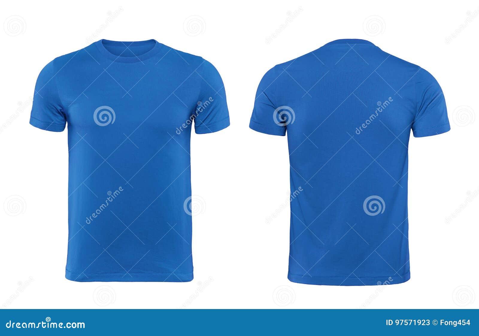 Blaue T-Shirts Front Und Rückseite Benutzt Als Designschablone ...
