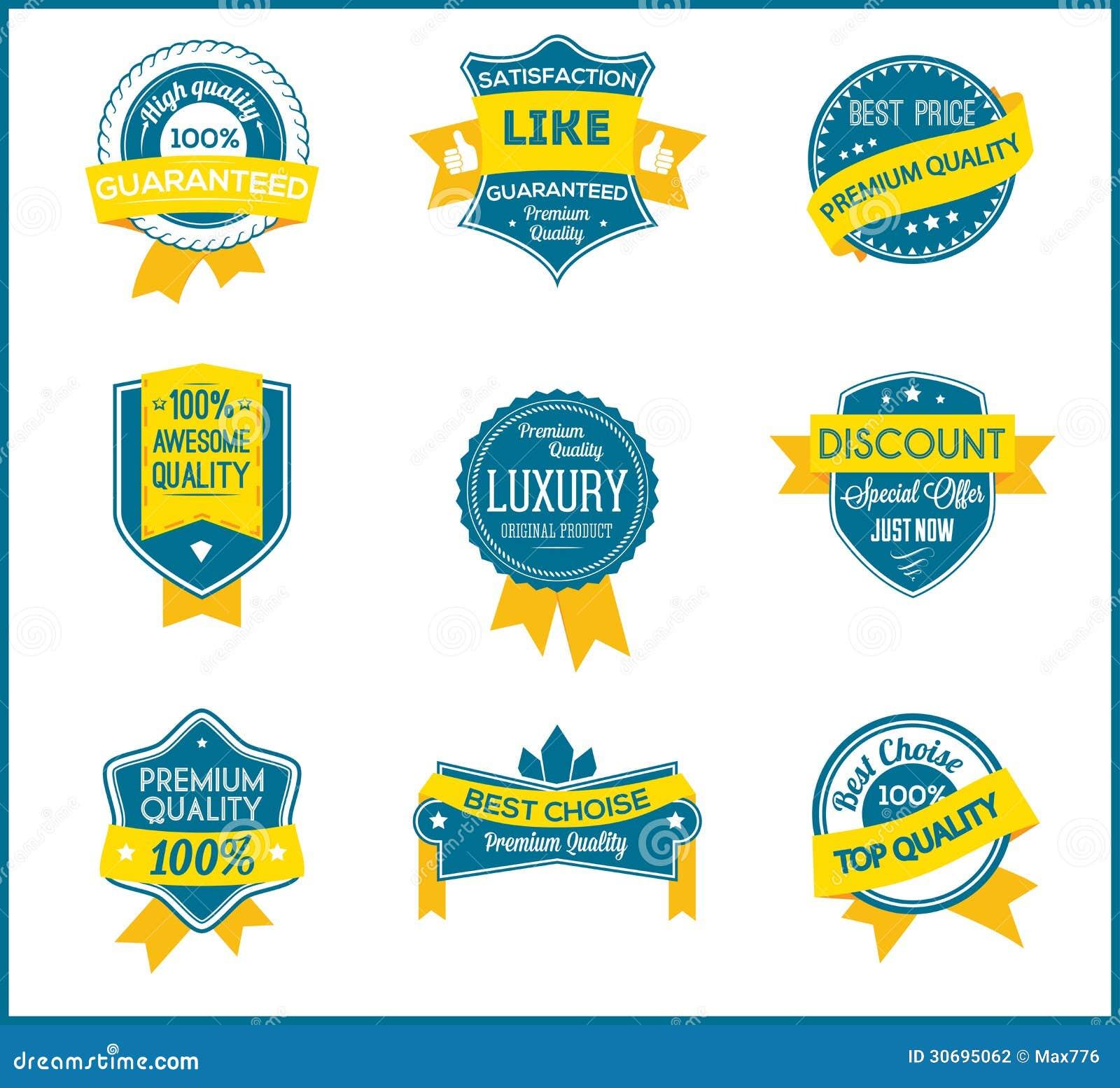 Blaue und gelbe Marketing-Aufkleber (stellen Sie von 9) ein
