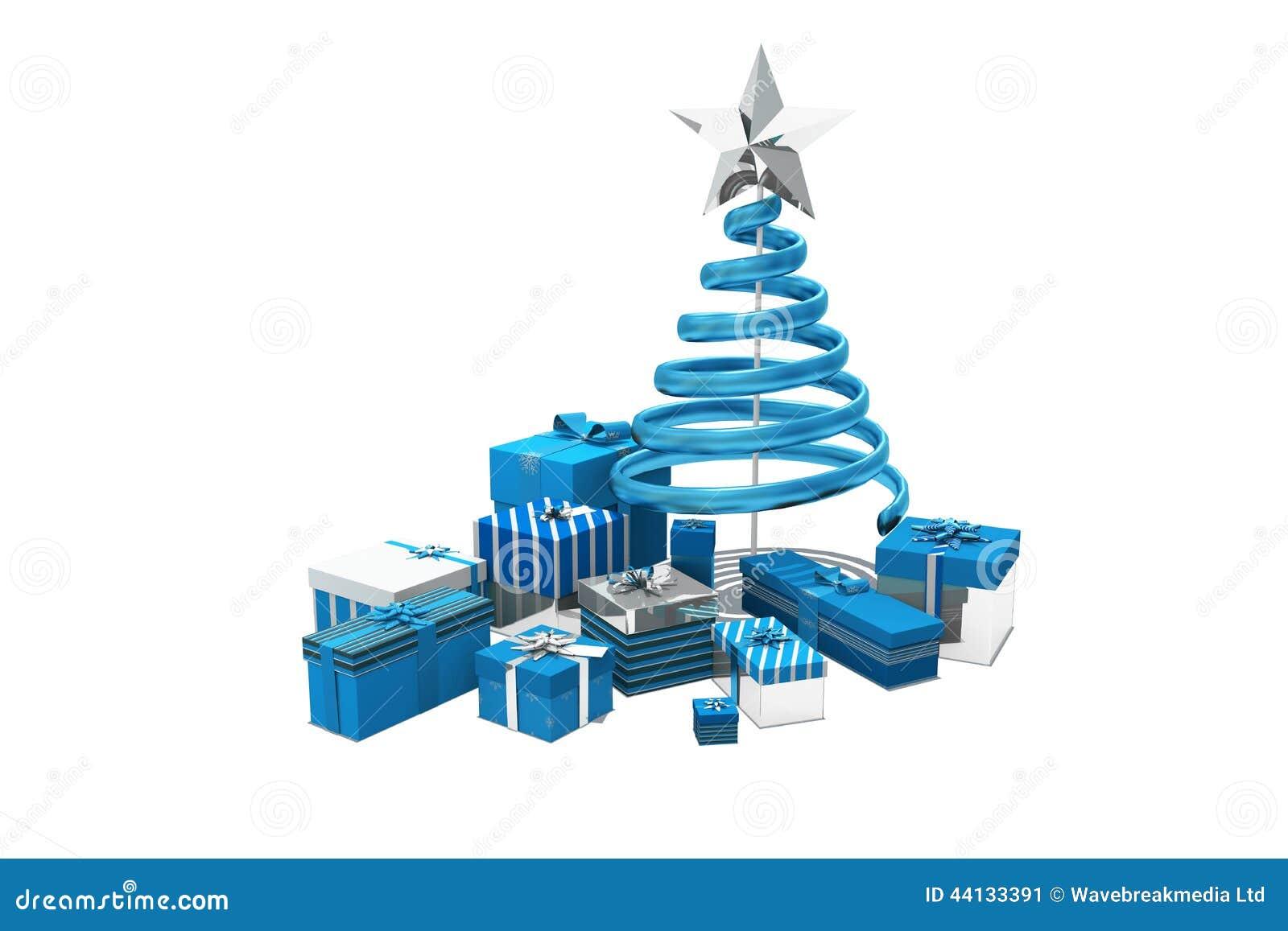 Blaue Und Silberne Weihnachtsgeschenke Stock Abbildung ...