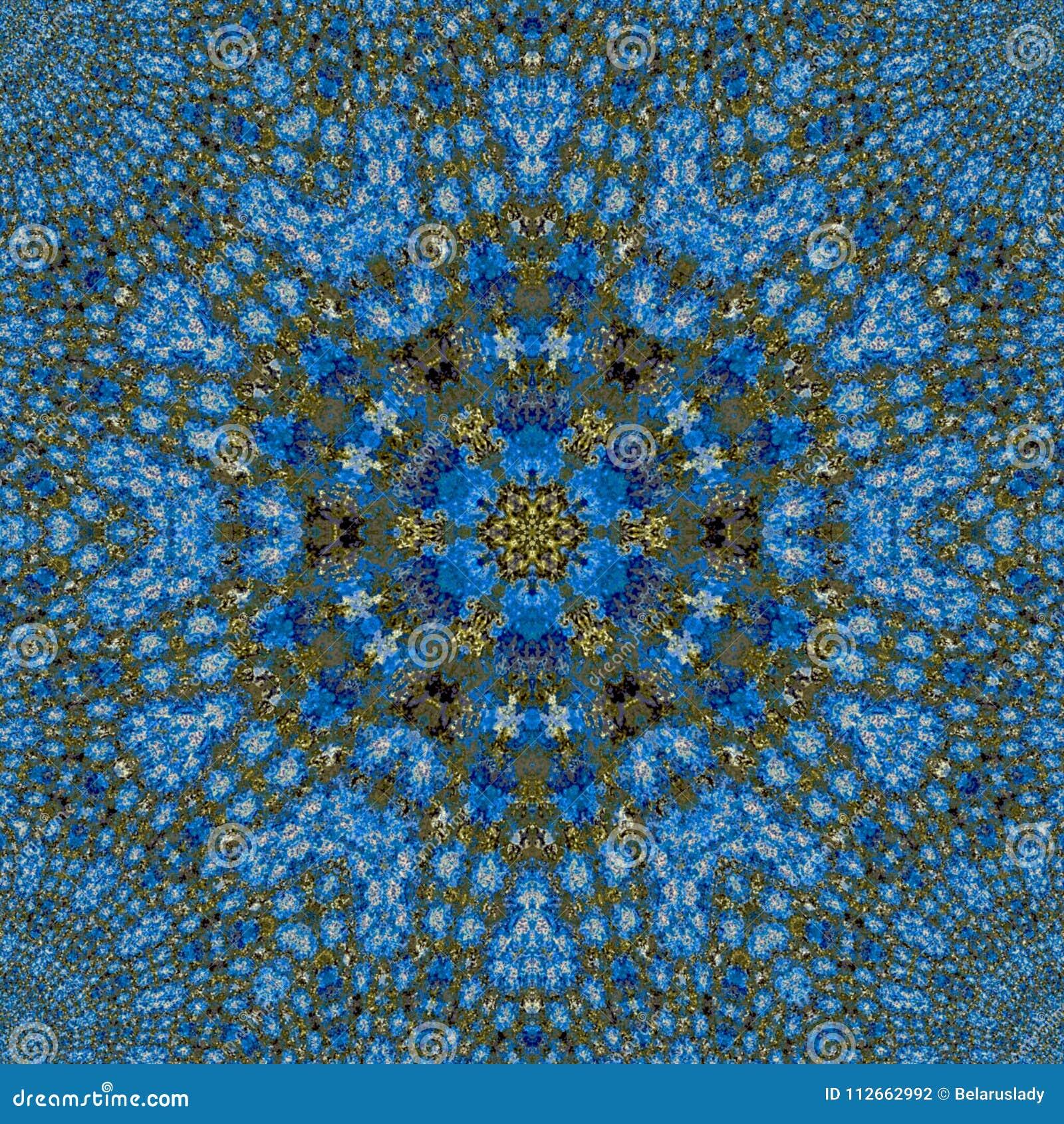 Blaue Verzierung mit braunem Kreismuster