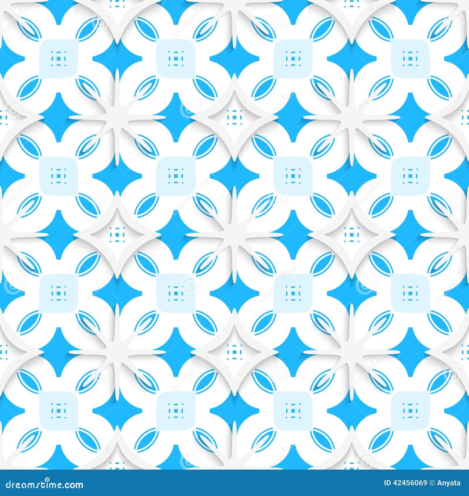 Blaue Verzierung und weiße Schneeflocken nahtlos