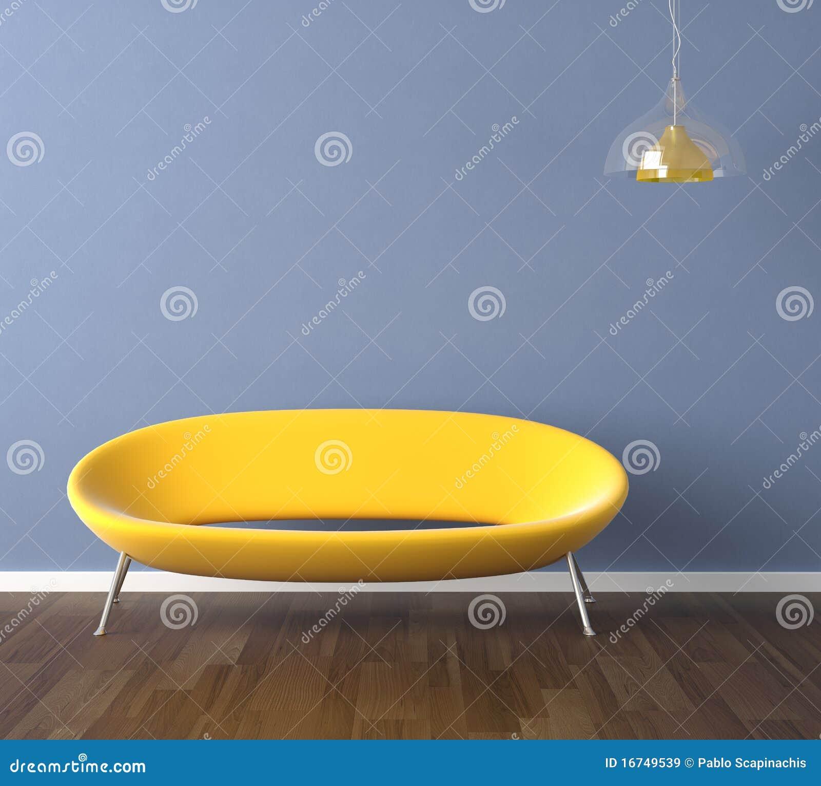 Blaue Wand Mit Gelber Couch Lizenzfreie Stockbilder - Bild ...