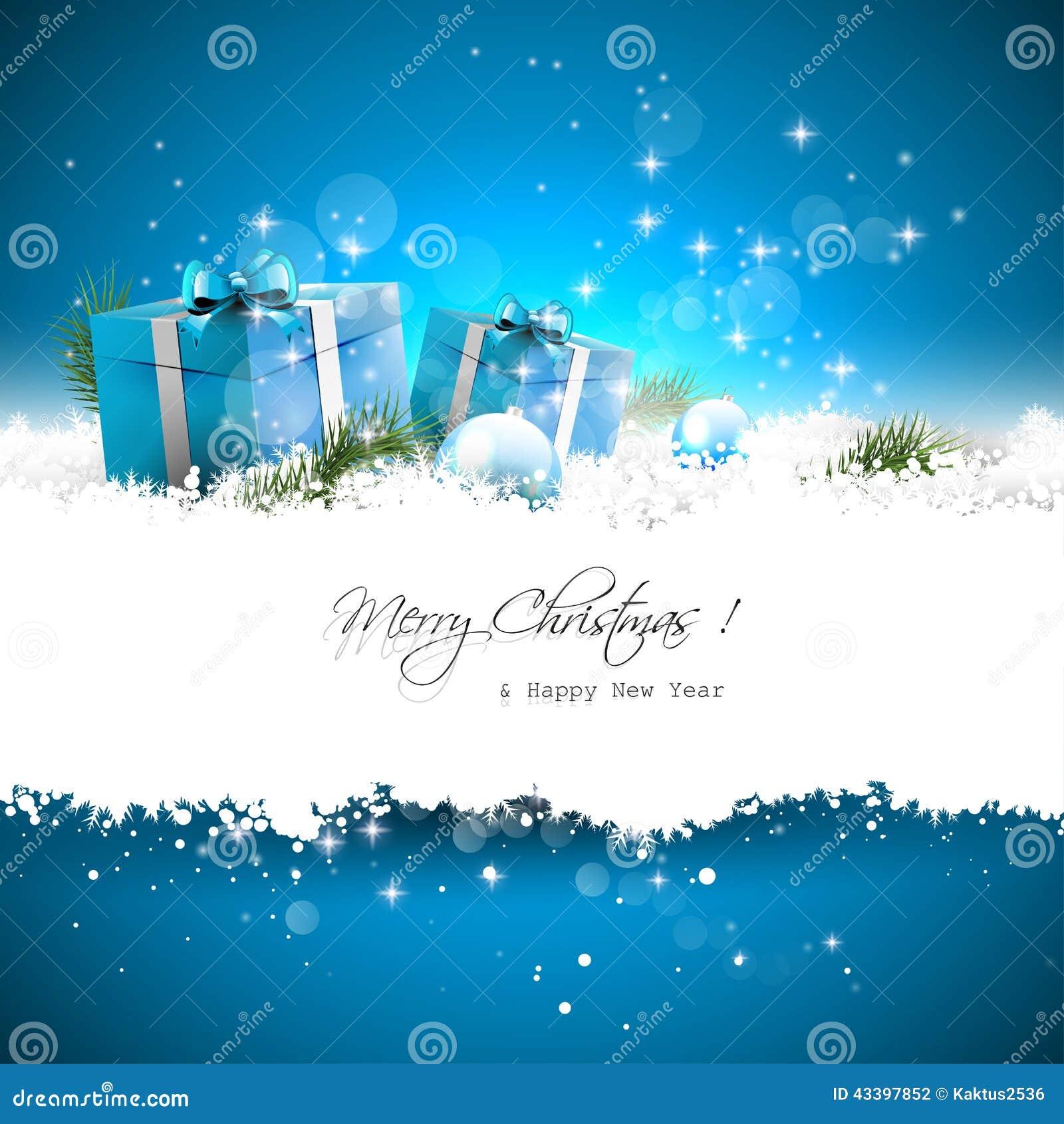 Blaue Weihnachtsgrußkarte