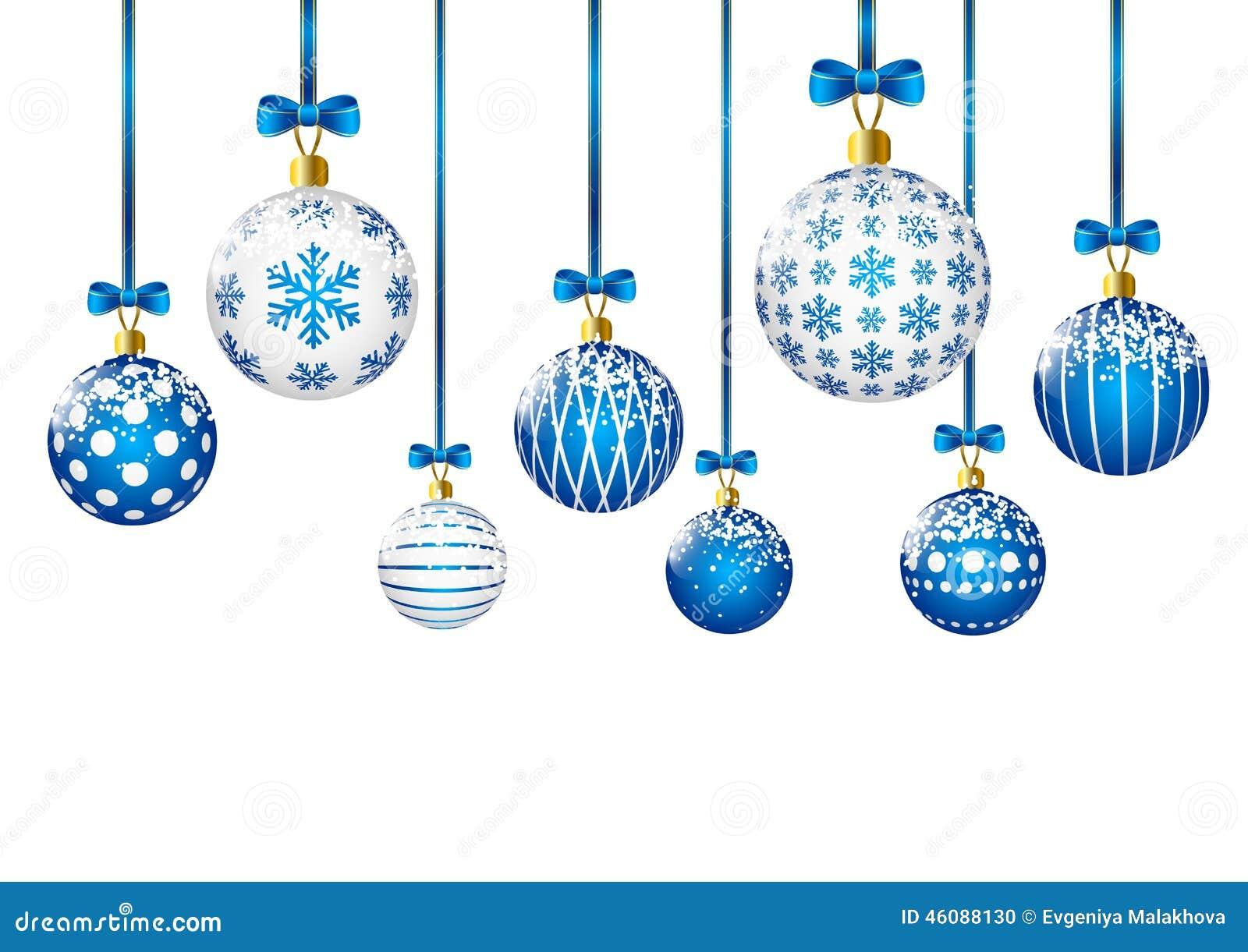 blaue weihnachtskugeln auf wei em hintergrund vektor abbildung bild 46088130. Black Bedroom Furniture Sets. Home Design Ideas