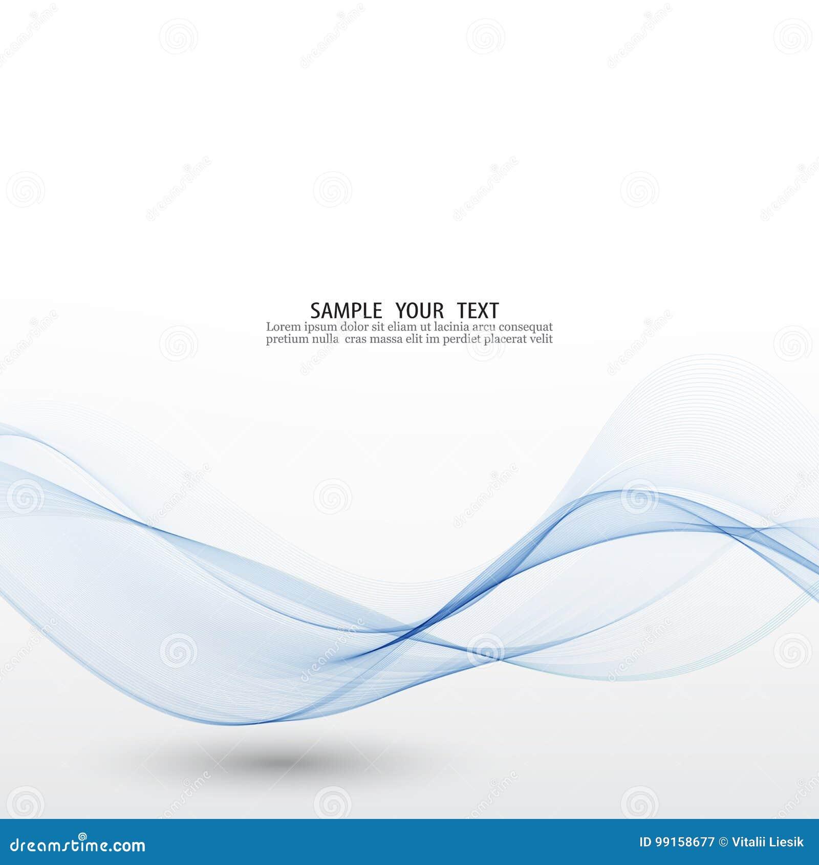 Blaue Welle Abstrakter weißer Hintergrund mit blauen gewellten gekrümmten Linien