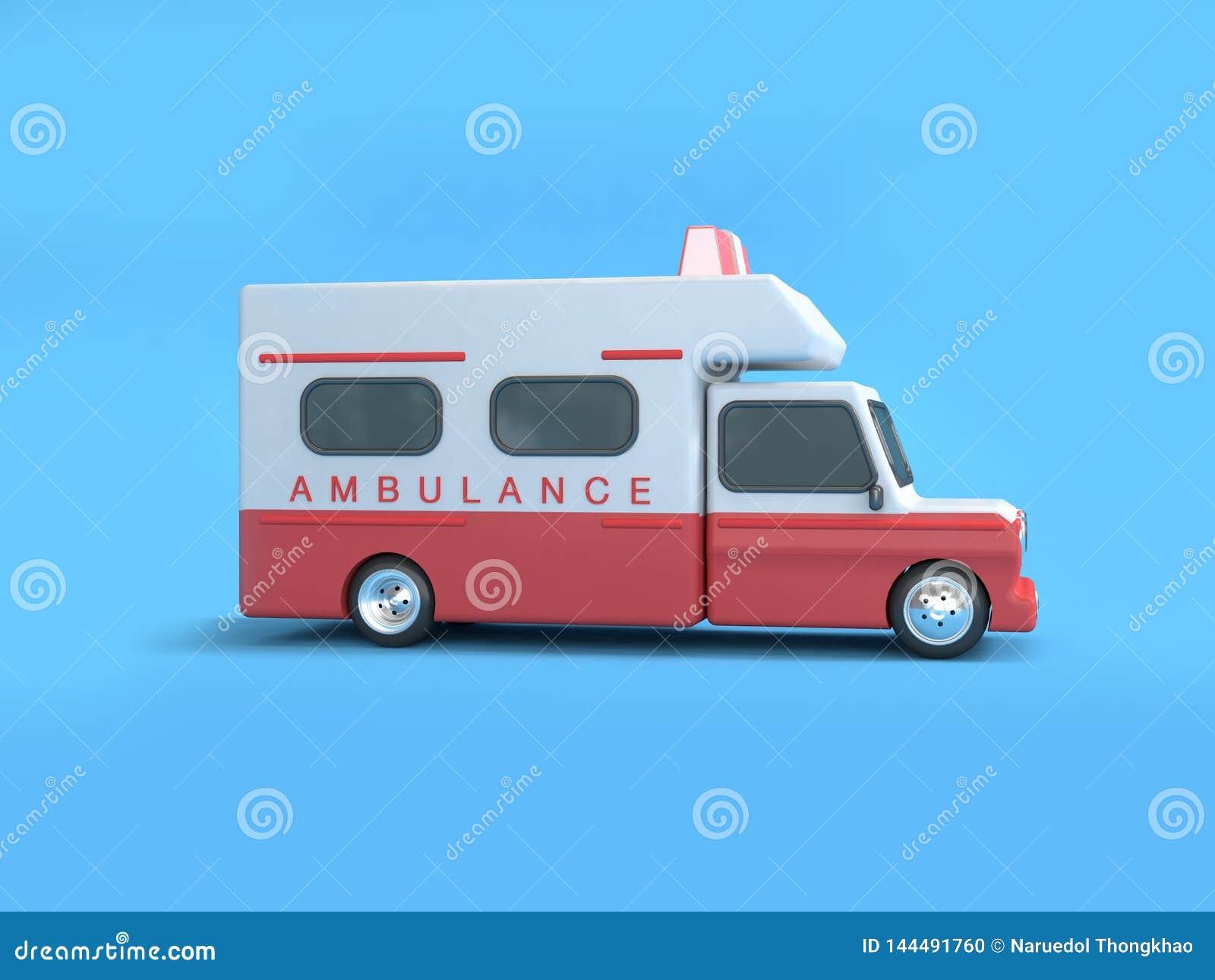 Blaue Wiedergabe des Hintergrundes 3d der roten weißen Krankenwagenkarikaturart