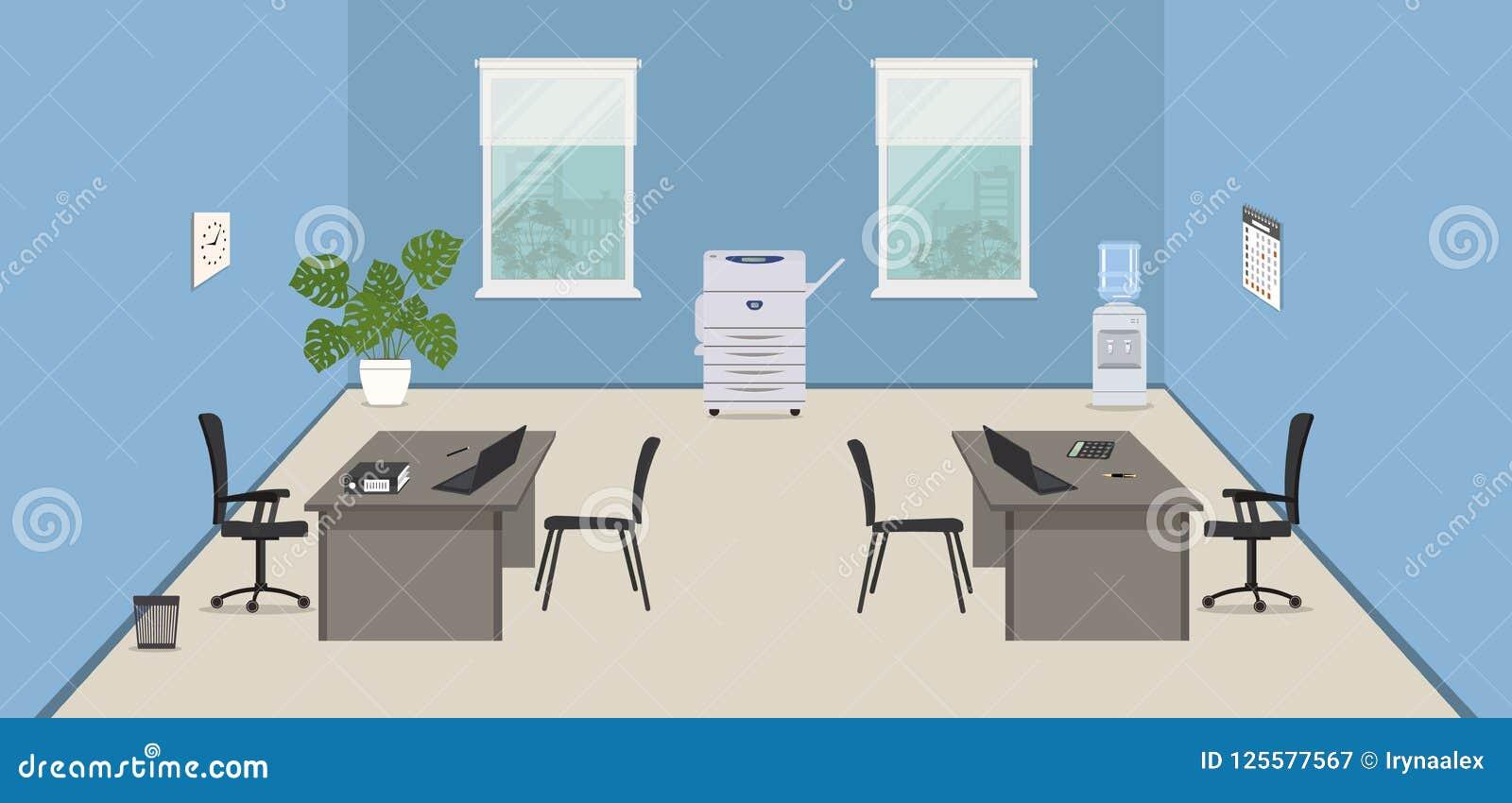 Blauer Büroraum mit grauen Schreibtischen, schwarzen Stühlen, einer Kopienmaschine und einem Wasserspender,