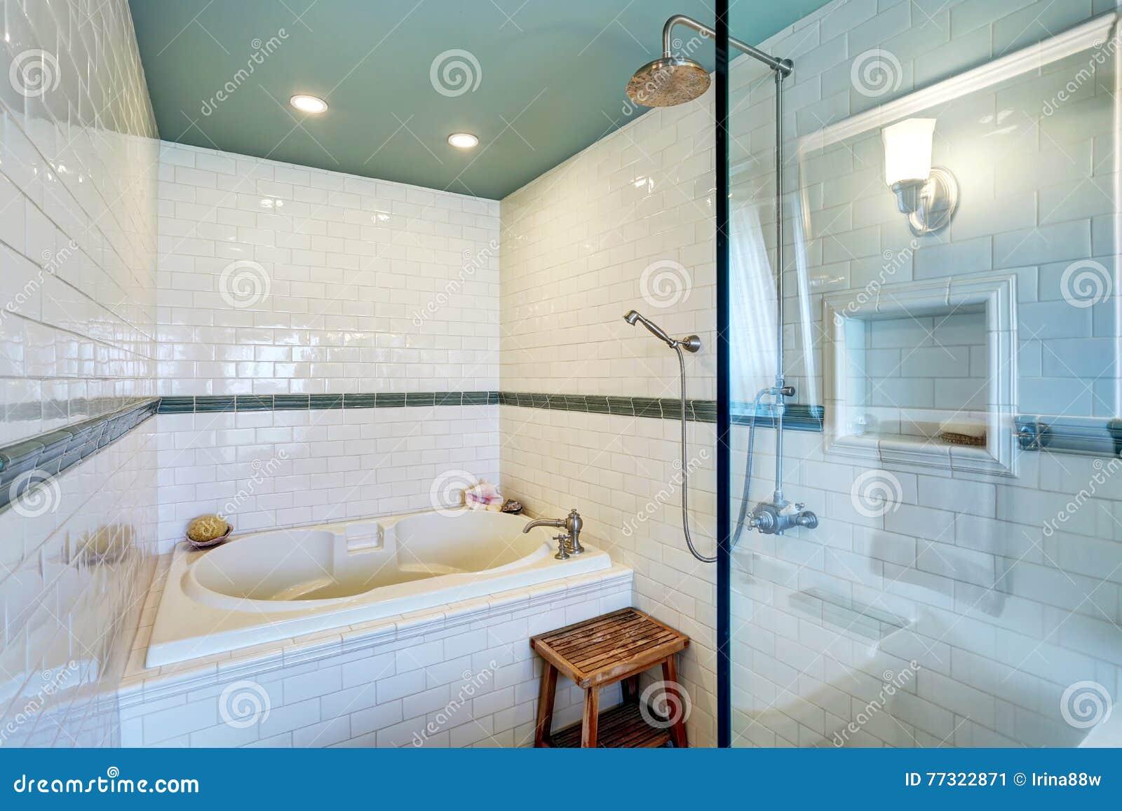 Blauer Badezimmerinnenraum mit weißer Fliesenordnungswand, Glaskabinendusche und Badewanne