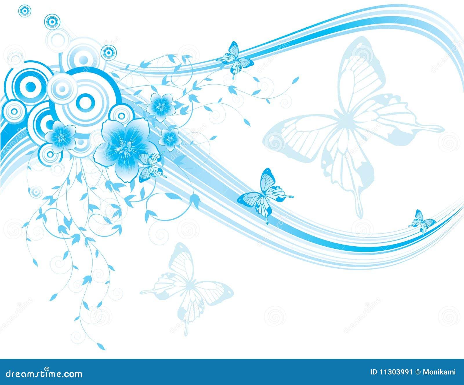 Blauer Blumenhintergrund mit Basisrecheneinheiten und Blume