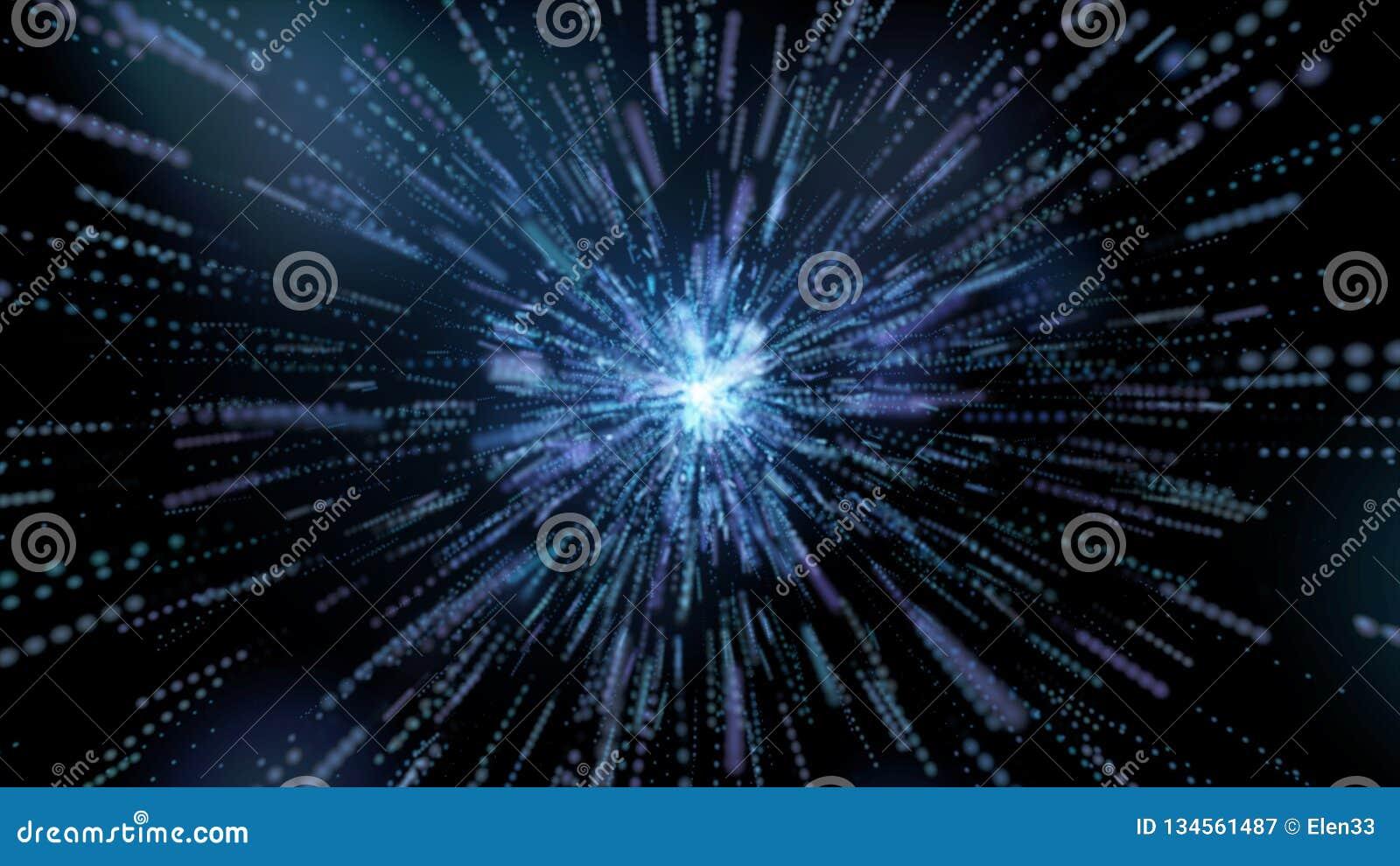 Blauer Explosionsstern mit Glanz und Linien