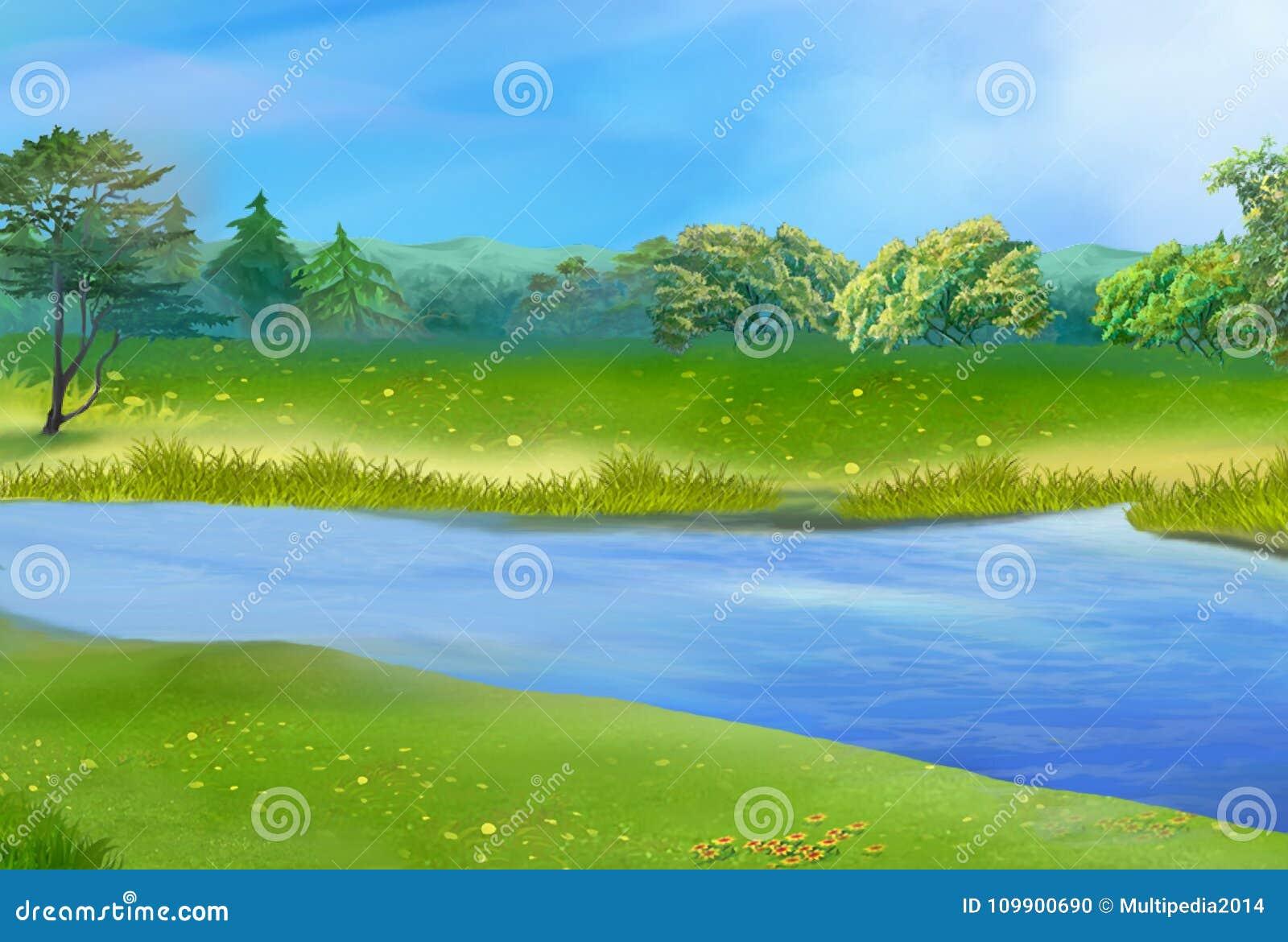Blauer Fluss auf Sunny Summer Day