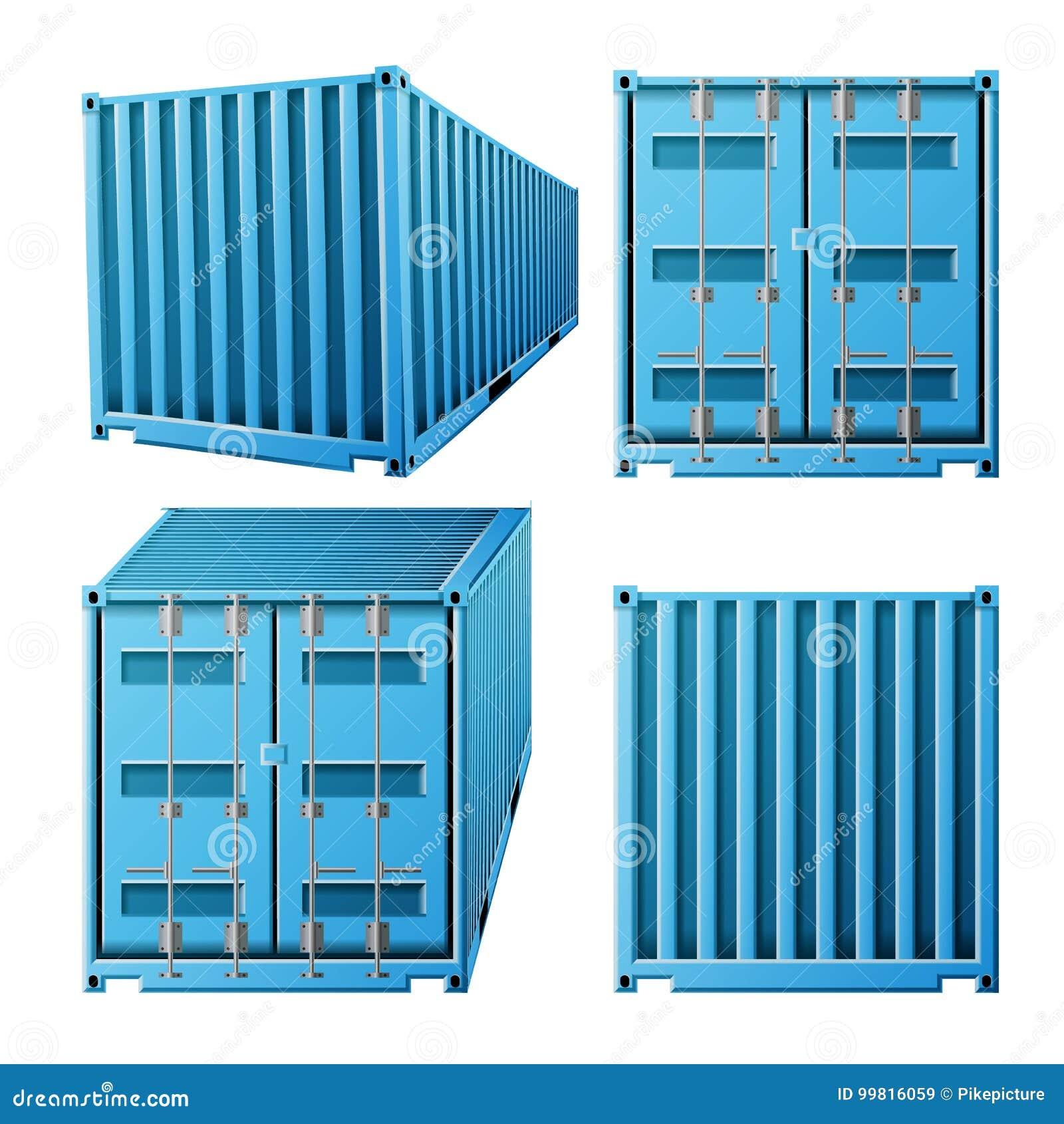 Blauer Fracht-Behälter-Vektor Klassischer Fracht-Behälter des realistisches Metall3d Fracht-Versand-Konzept Transport-Spott