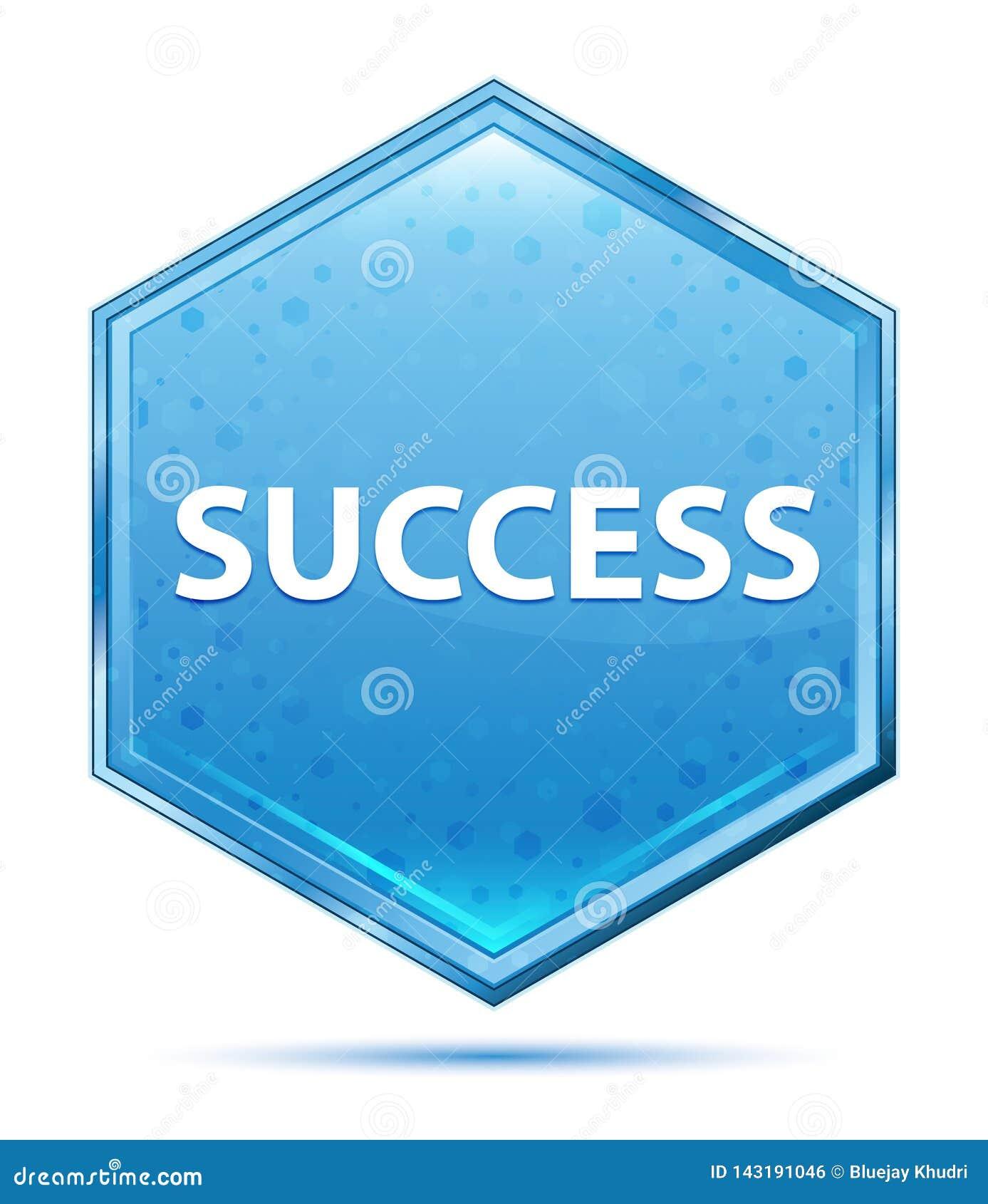 Blauer Hexagonkristallknopf des Erfolgs