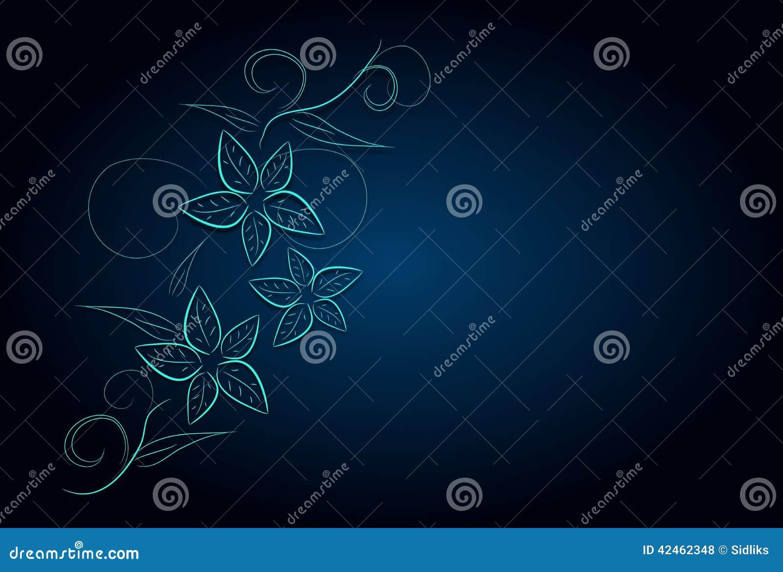 Blauer Hintergrund mit Blumenverzierungen