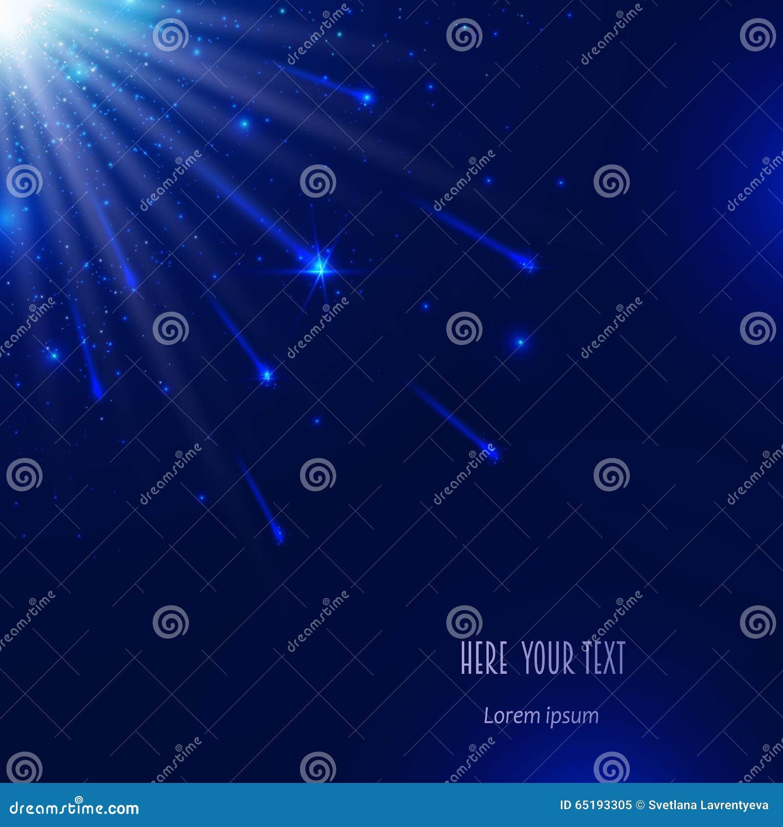 blauer hintergrund mit sternen und kometen vektor abbildung illustration von hell gl hen. Black Bedroom Furniture Sets. Home Design Ideas