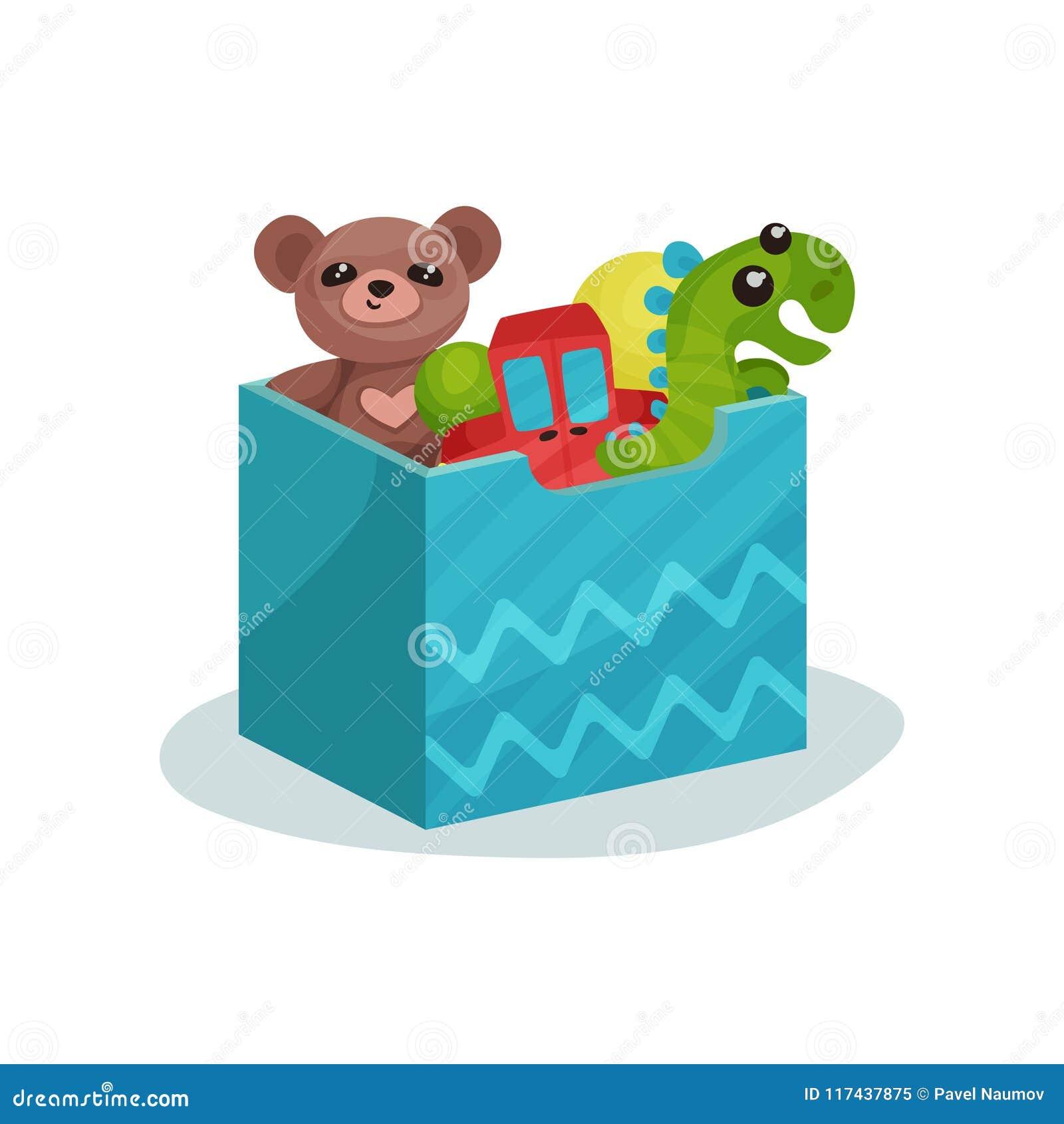 Blauer Kasten voll Kinderspielwaren Brown-Teddybär, grüner Dinosaurier, rotes Auto und Gummibälle Flache Vektorikone