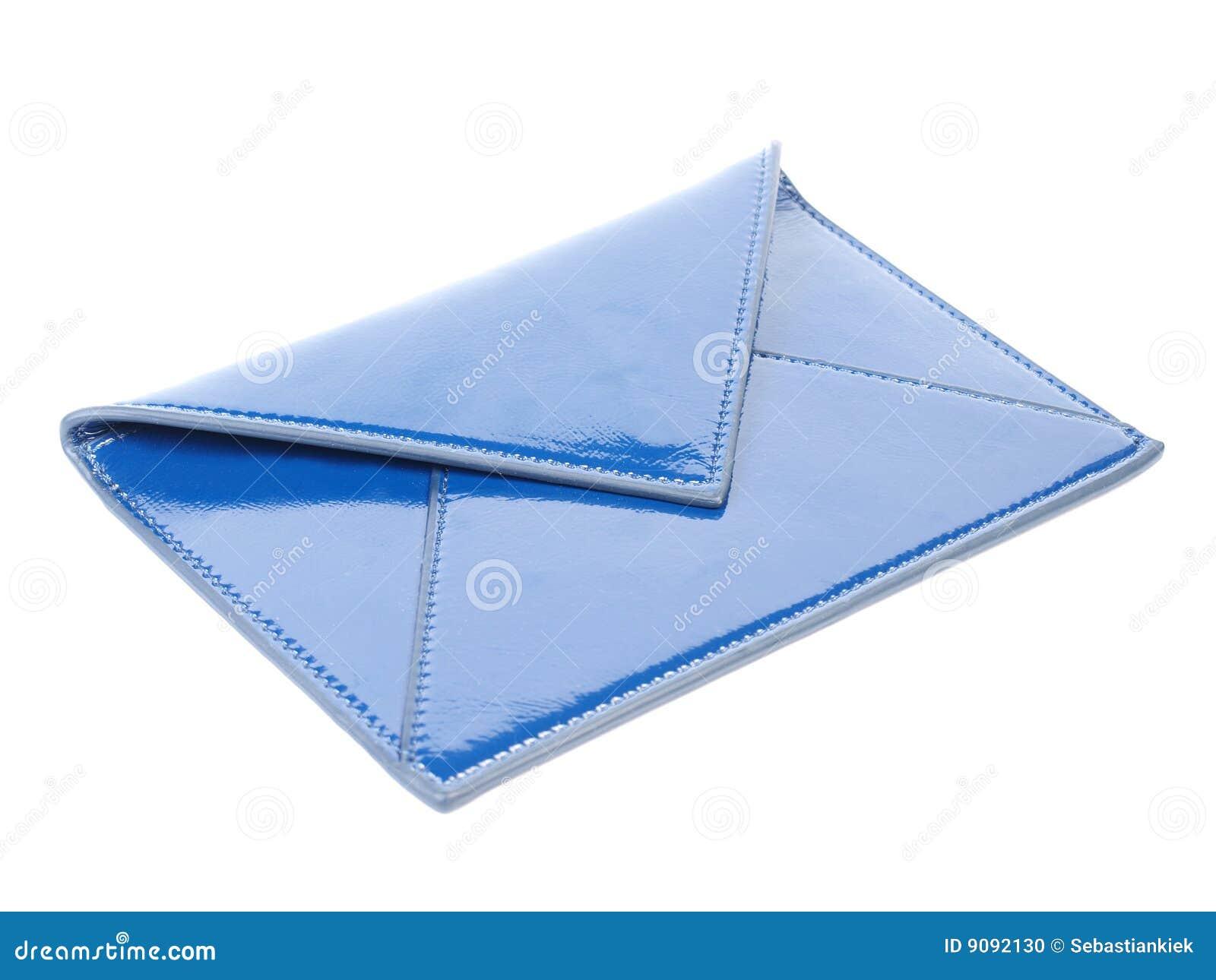 Blauer lederner Umschlag