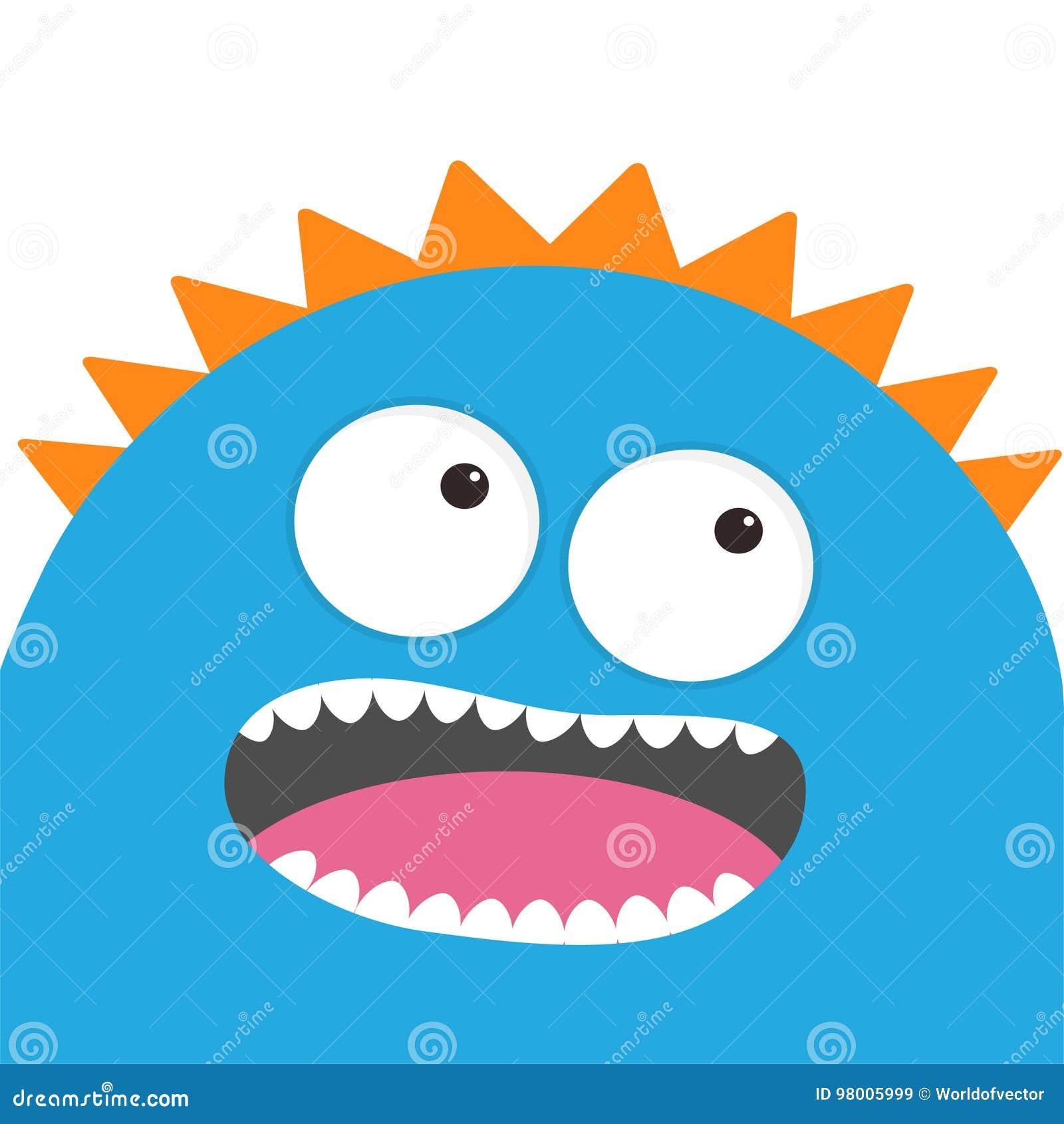 Blauer Monsterkopf Mit Zwei Augen Zähne Zunge Lustige Nette