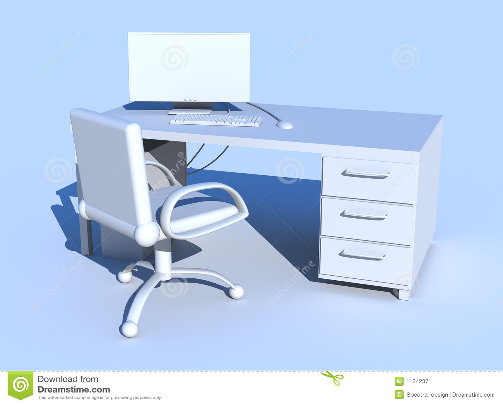 blauer pc arbeitsplatz lizenzfreie stockfotografie bild. Black Bedroom Furniture Sets. Home Design Ideas
