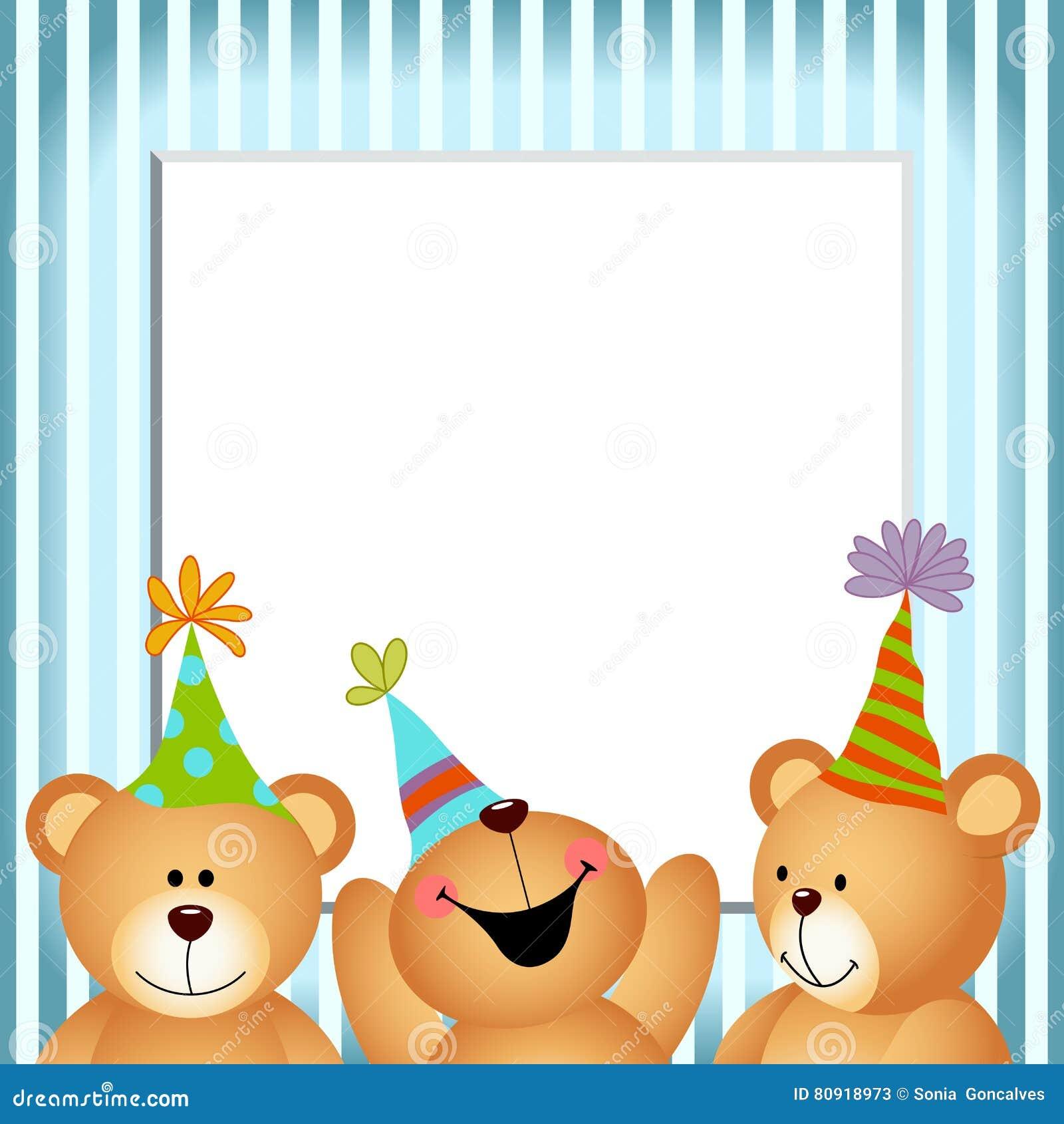 Blauer Rahmen-alles Gute Zum Geburtstag Teddy Bears Vektor Abbildung ...