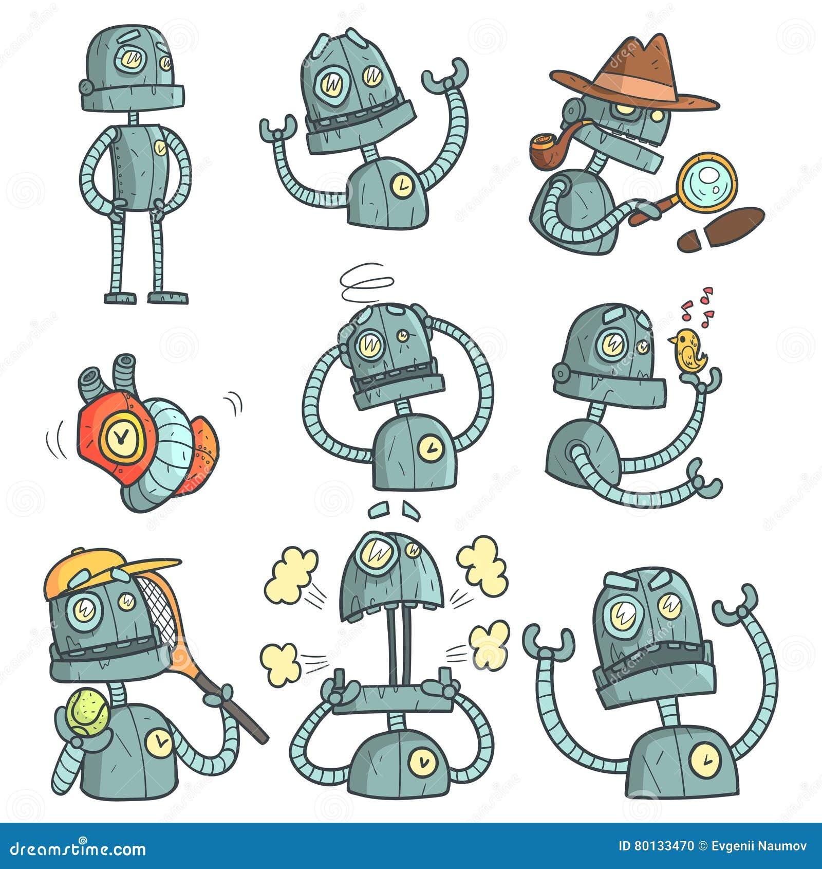 Blauer Roboter-Satz der Karikatur umreißt Porträts