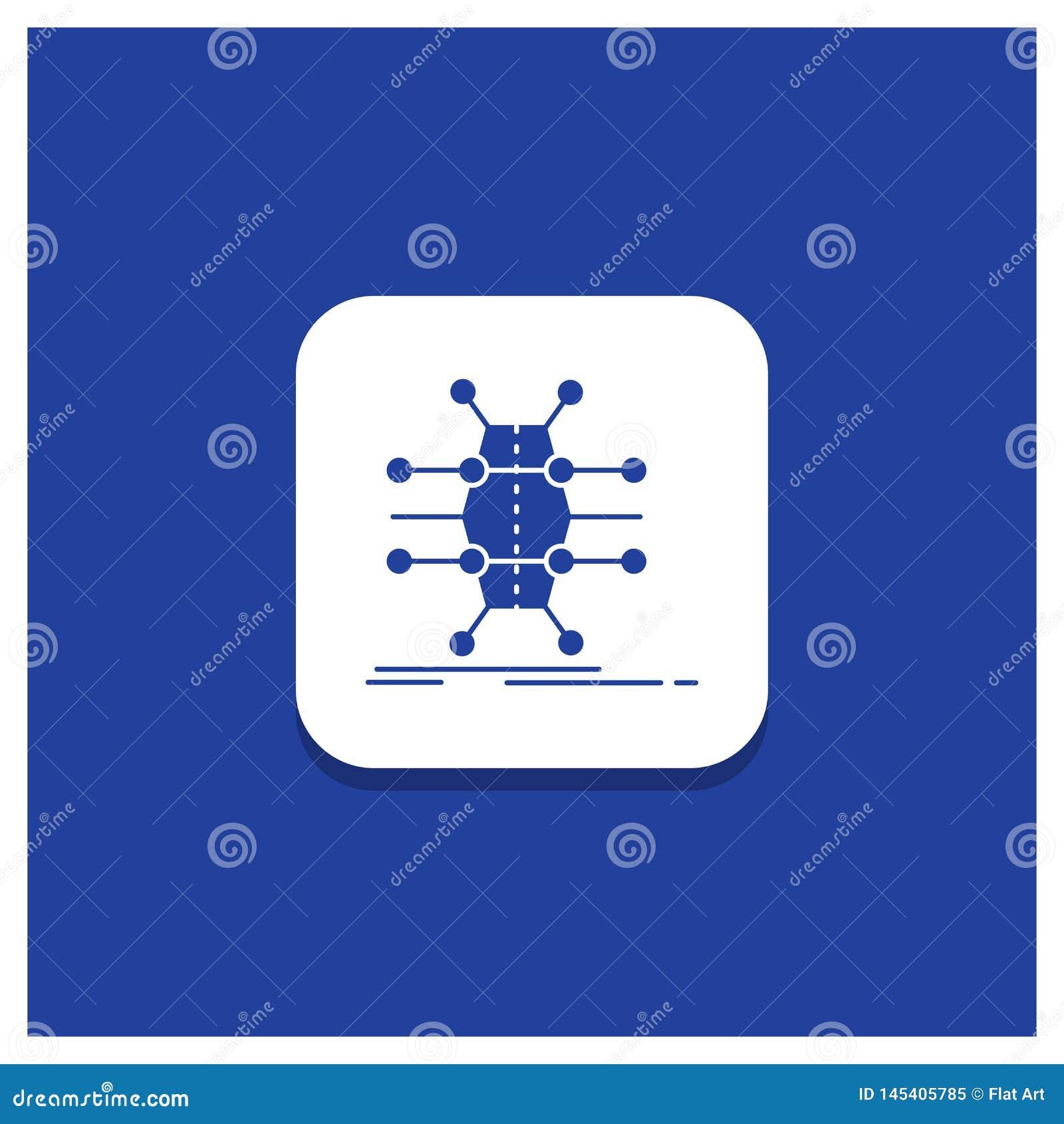 Blauer runder Knopf für Verteilung, Gitter, Infrastruktur, Netz, intelligente Glyphikone