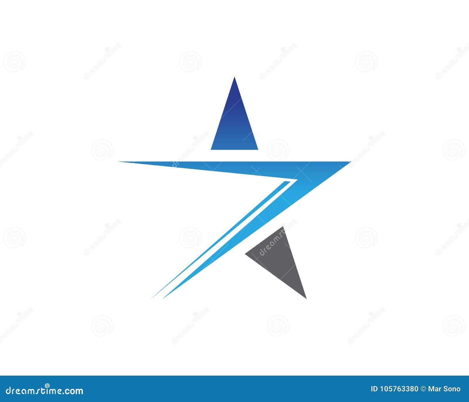 Blauer Stern-Logo und Symbolikonen Schablonen-APP