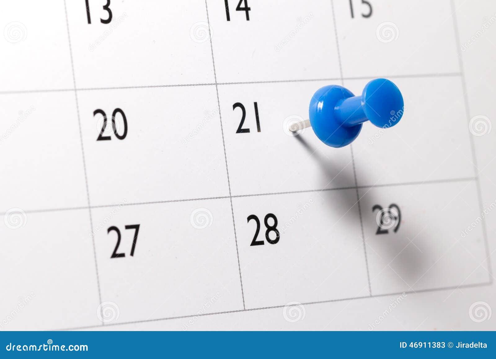 Blauer Stift vom Kalender