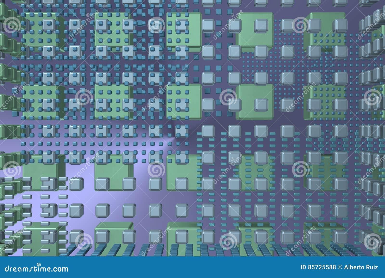 Blauer Technologiehintergrund mit Würfeln