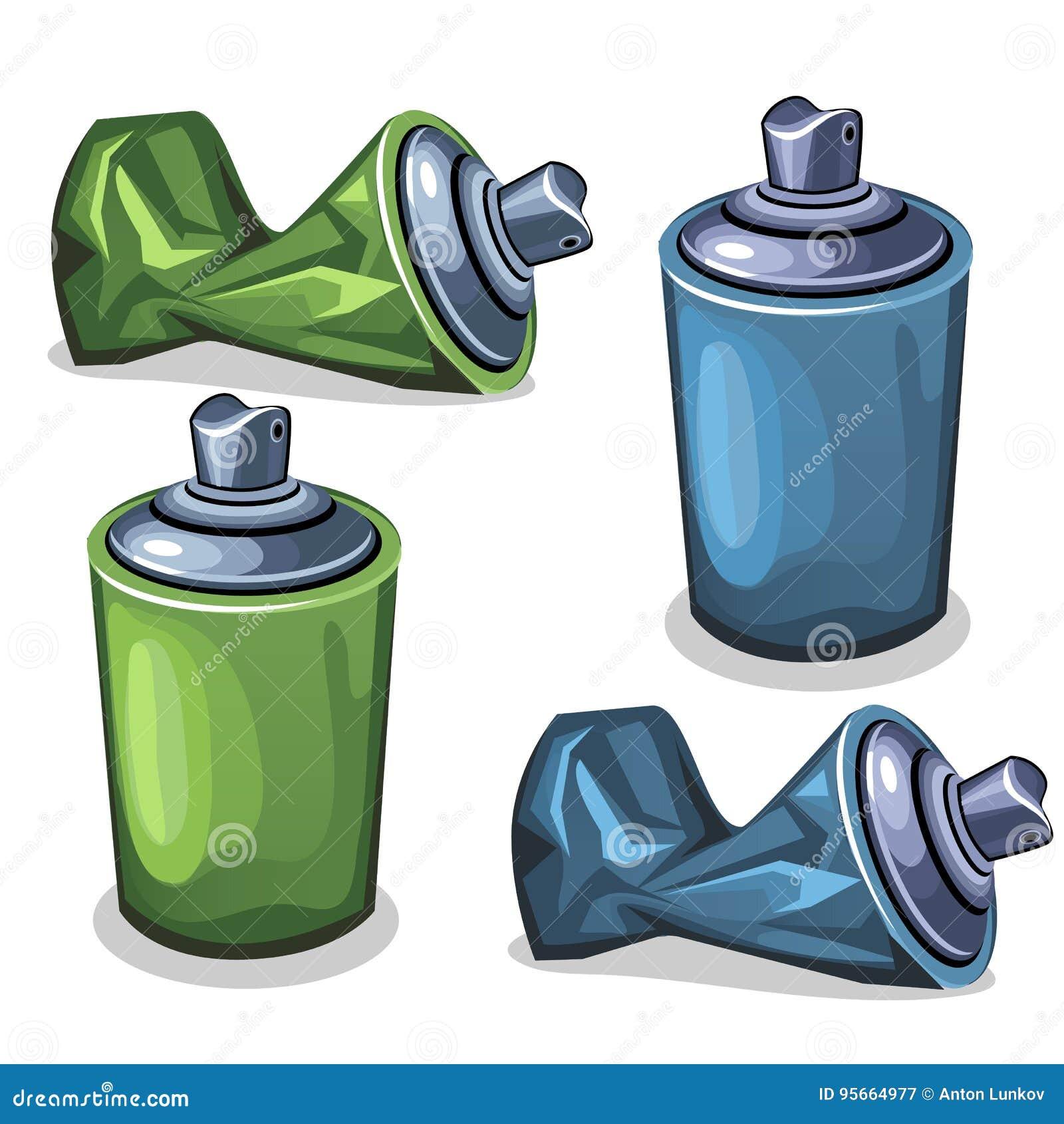 Blauer und grüner Rohrspray voll und leeres zerknittert