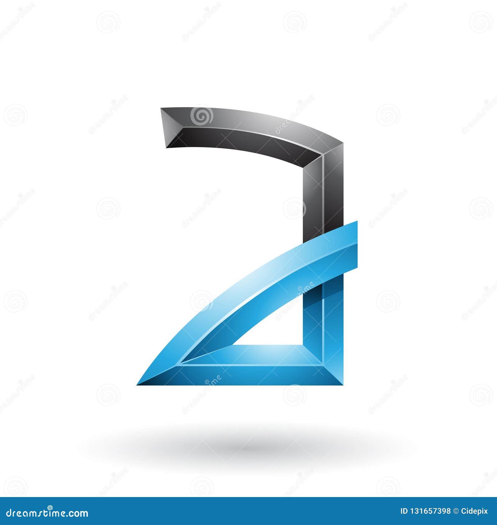 Blauer und schwarzer prägeartiger Buchstabe A mit den verbogenen Gelenken lokalisiert auf einem weißen Hintergrund
