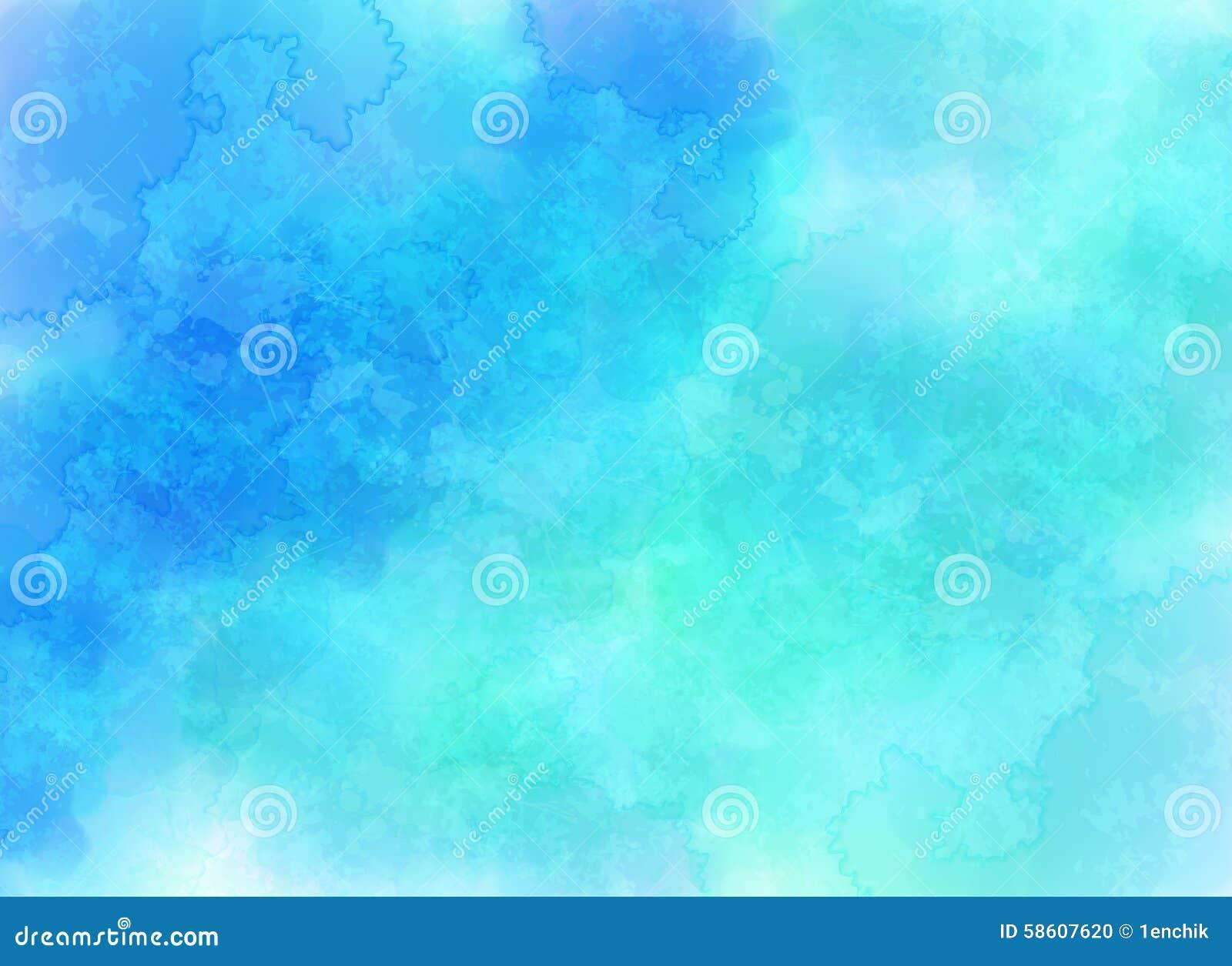 Blauer Vektor bewölkt Hintergrund in der Aquarellart
