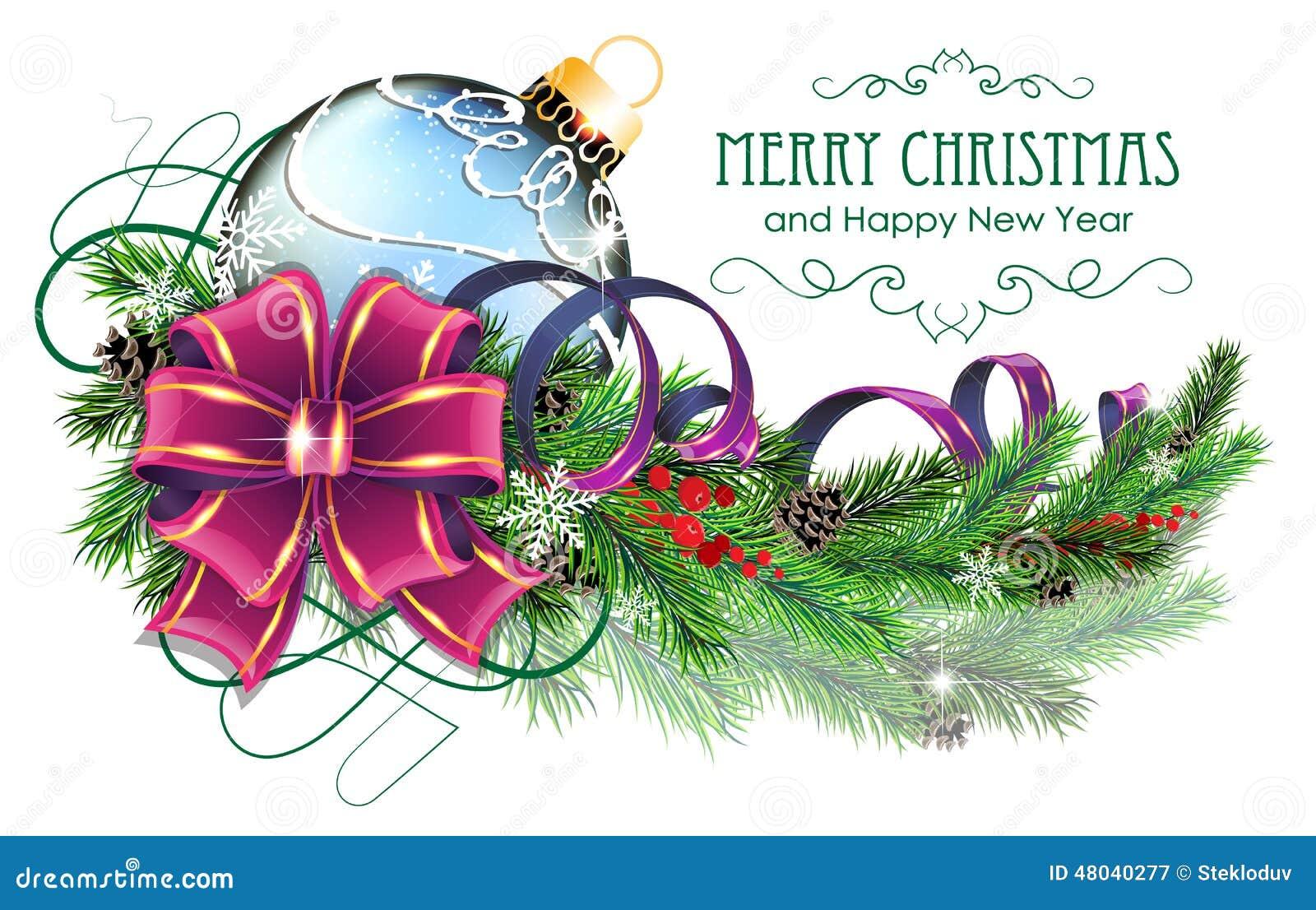 Blauer Weihnachtsball mit purpurrotem Bogen und Tannenzweigen