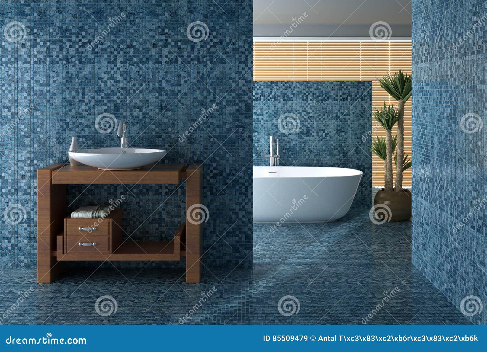 Blaues Badezimmer Einschließlich Bad Und Wanne Stock ...