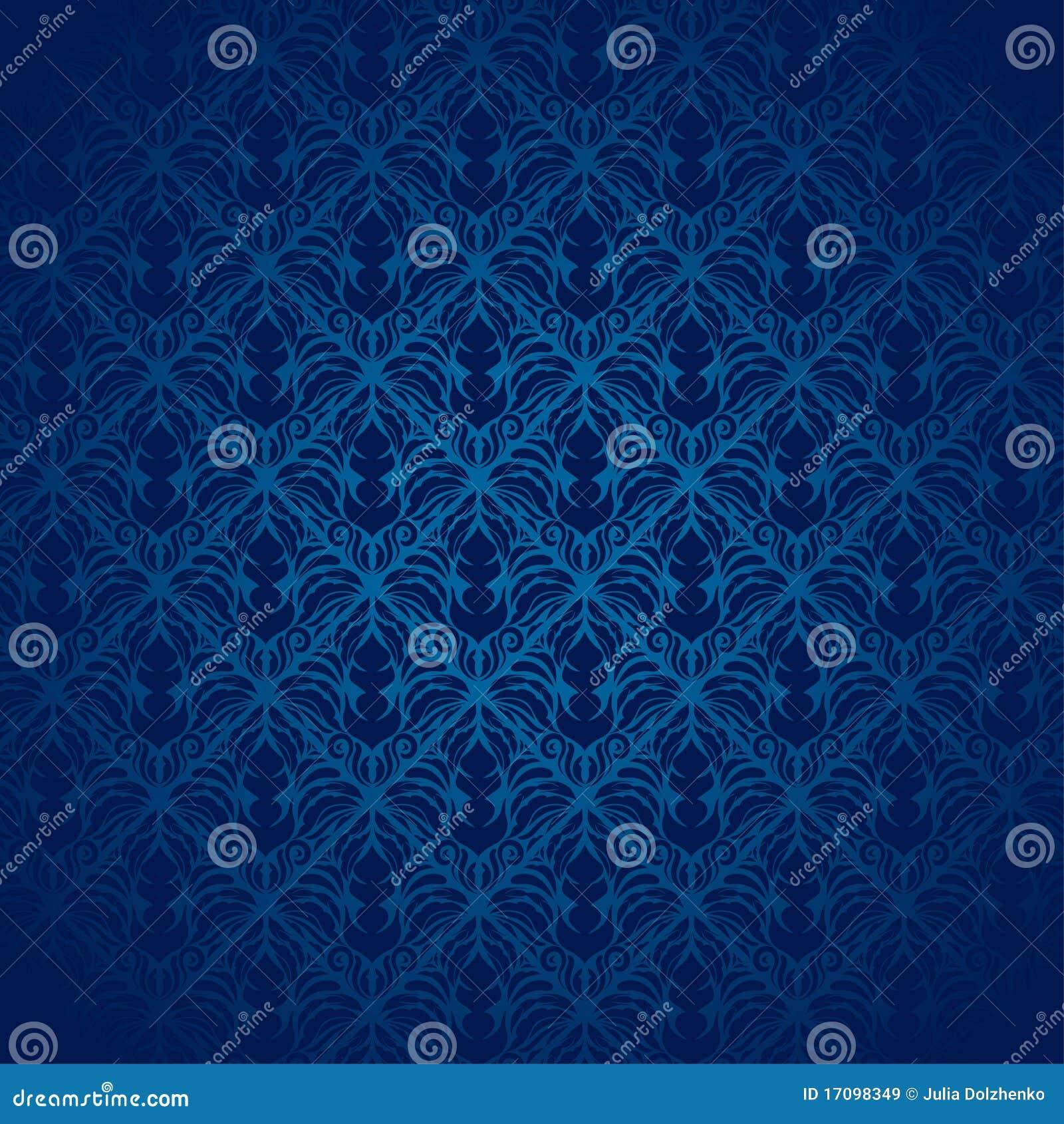 Blaues Damast-Muster