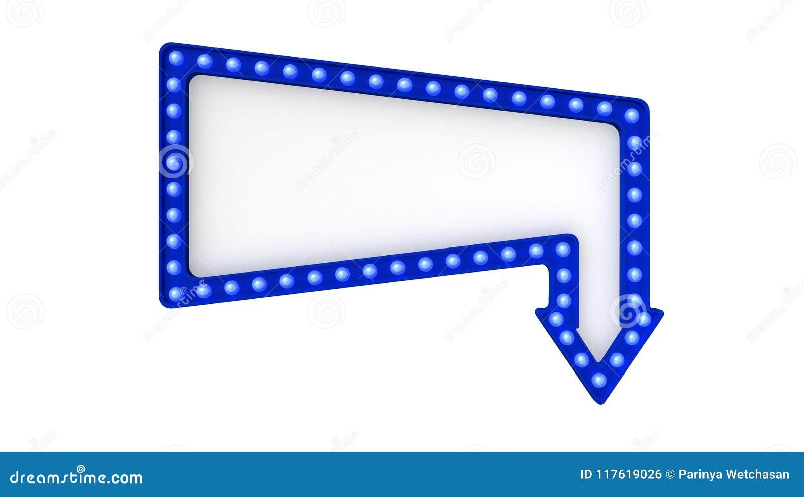 Blaues Festzeltlicht-Brettzeichen Retro- auf weißem Hintergrund Wiedergabe 3d
