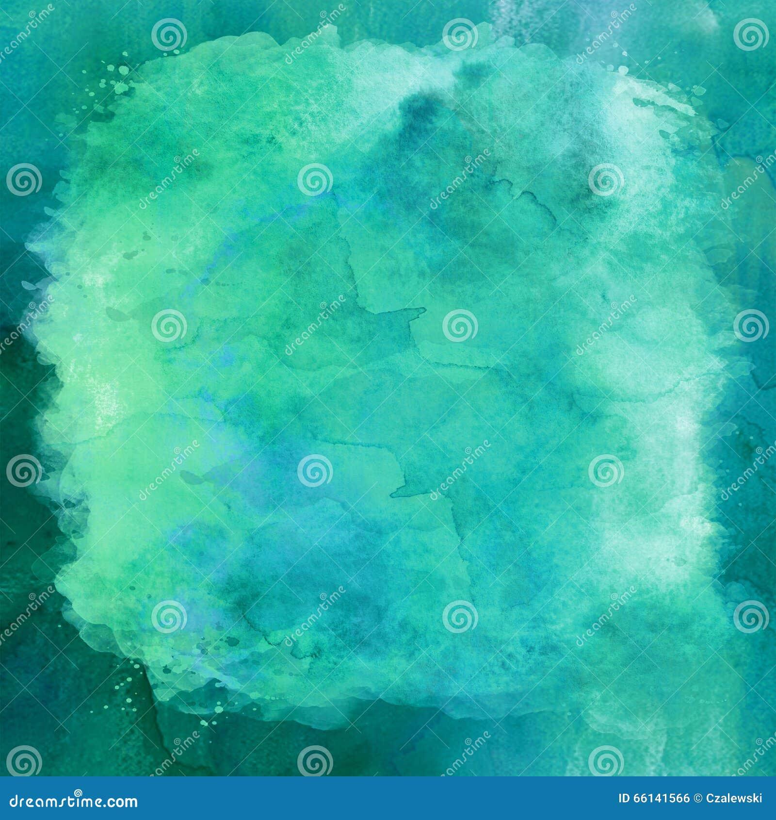 Blaues Grün Aqua Teal Turquoise Watercolor Paper Background