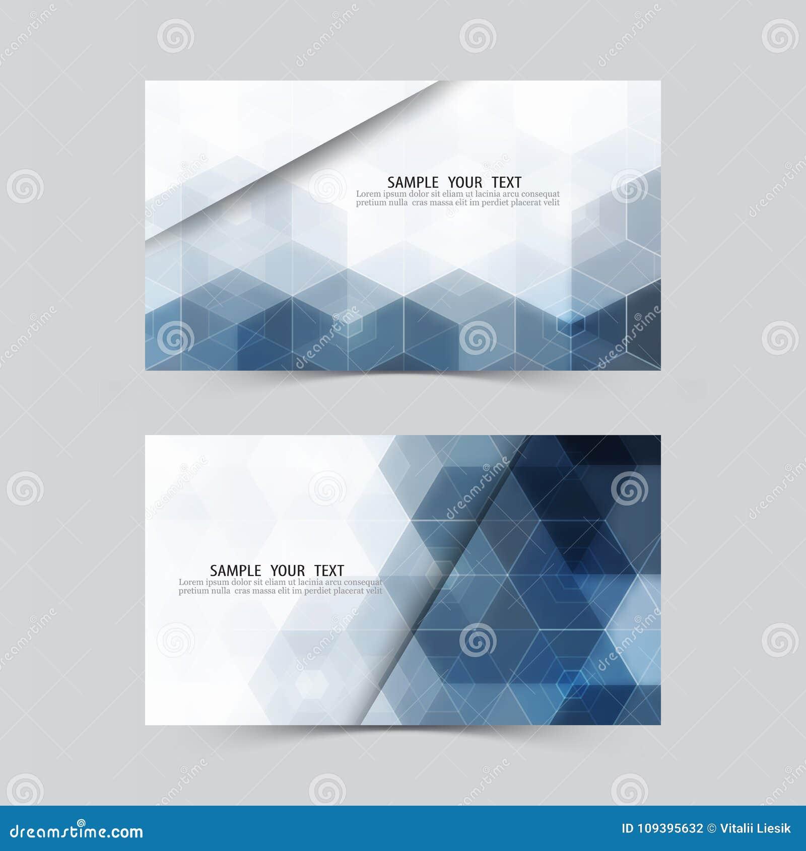 Blaues Hexagon entziehen Sie Hintergrund Set Fahnen Einladungsschablone, Kreditkarten, Visitenkarten, Gutscheine