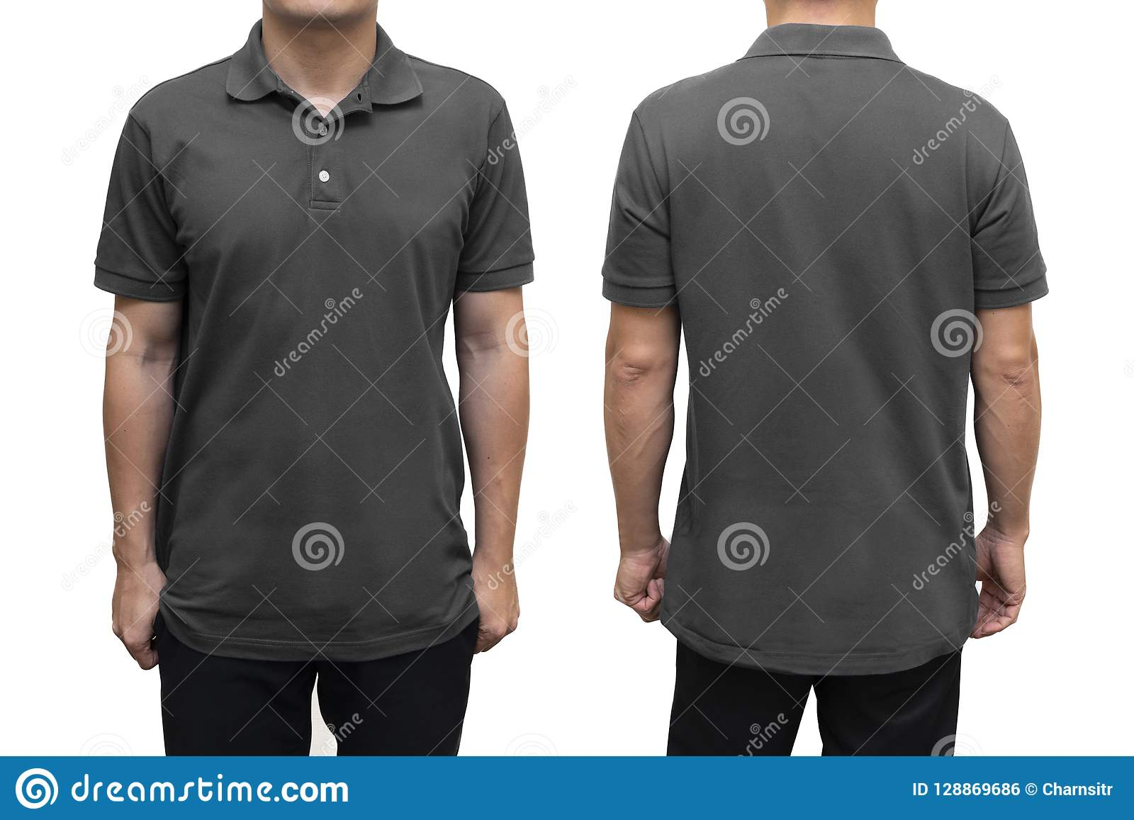 Blaues leeres Polohemd auf menschlichem Körper für Grafikdesignspott oben
