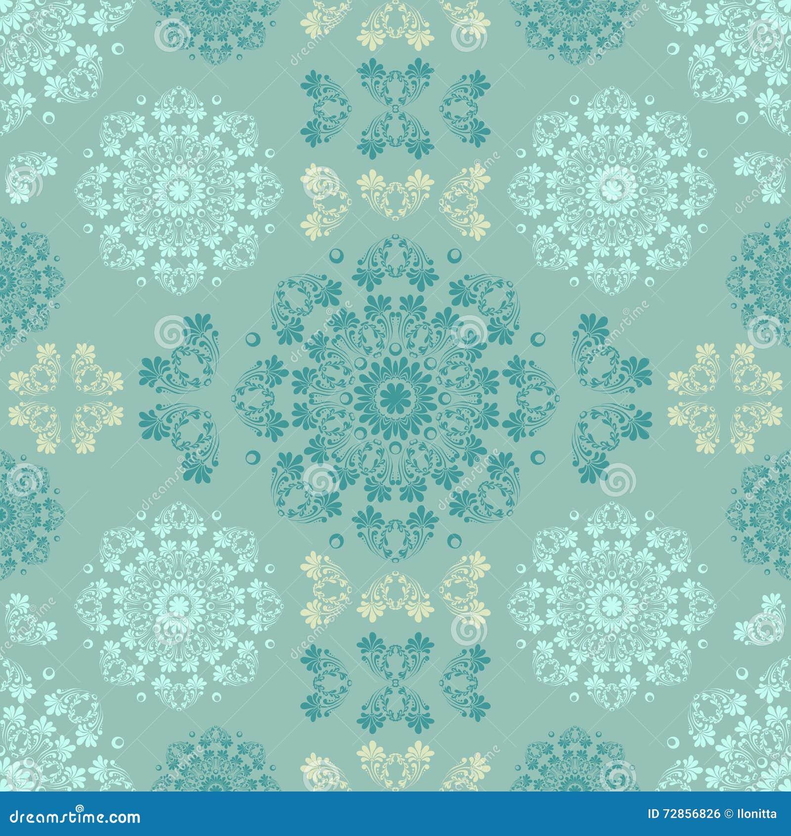 blaues nahtloses muster fr wand tapetengewebe textildesign mit mandalen und dekorative weinlese modische farbe und weinleseelemente auch im corel - Muster Fur Wand