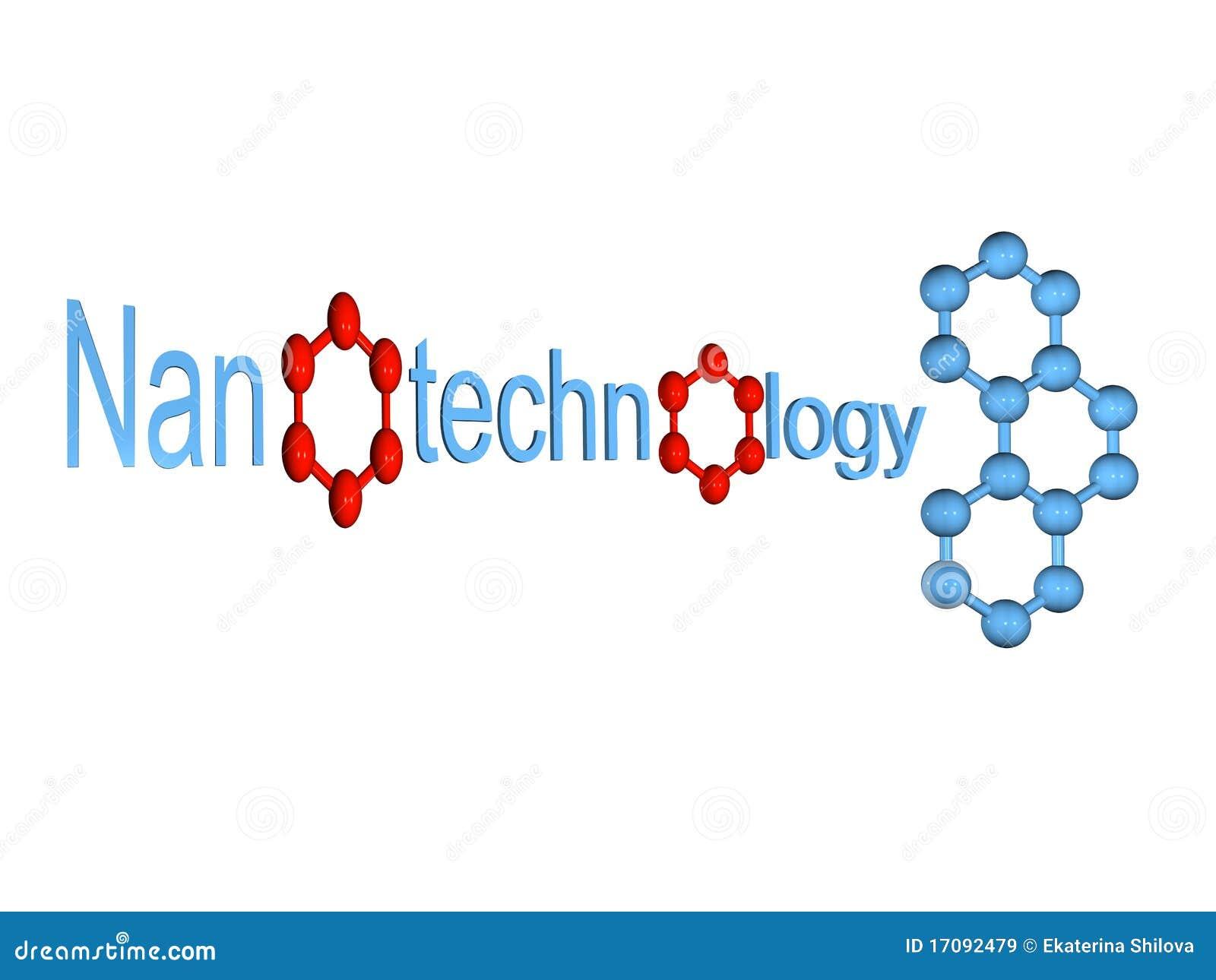 Blaues Nanotechnologiesymbol mit dem Molekül getrennt