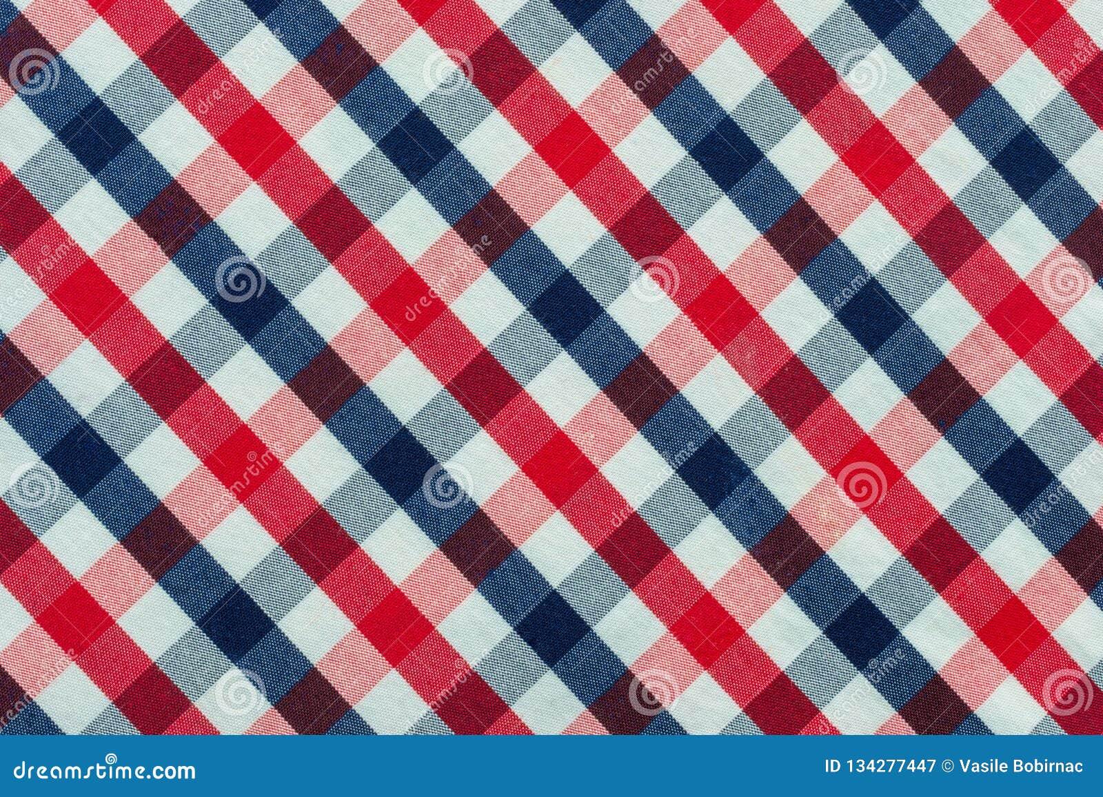 Blaues, rotes und weißes Plaid-Gewebe