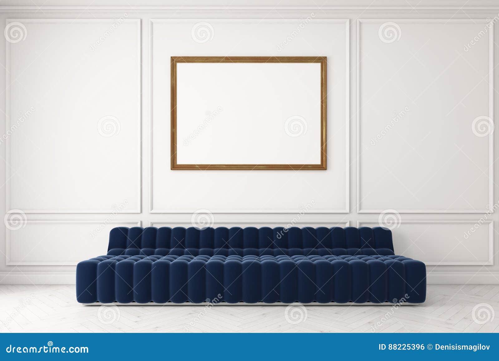 Großartig Hellblaues Sofa Sammlung Von Pattern Blaues Gegen Weiße Wand, Plakat Stock