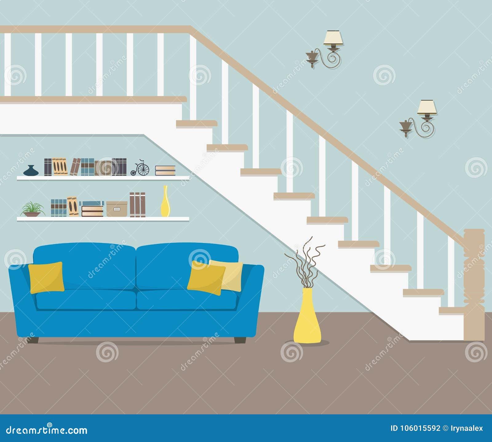 Wunderbar Download Blaues Sofa Mit Den Kissen, Gelegen Unter Der Treppe Vektor  Abbildung   Illustration Von