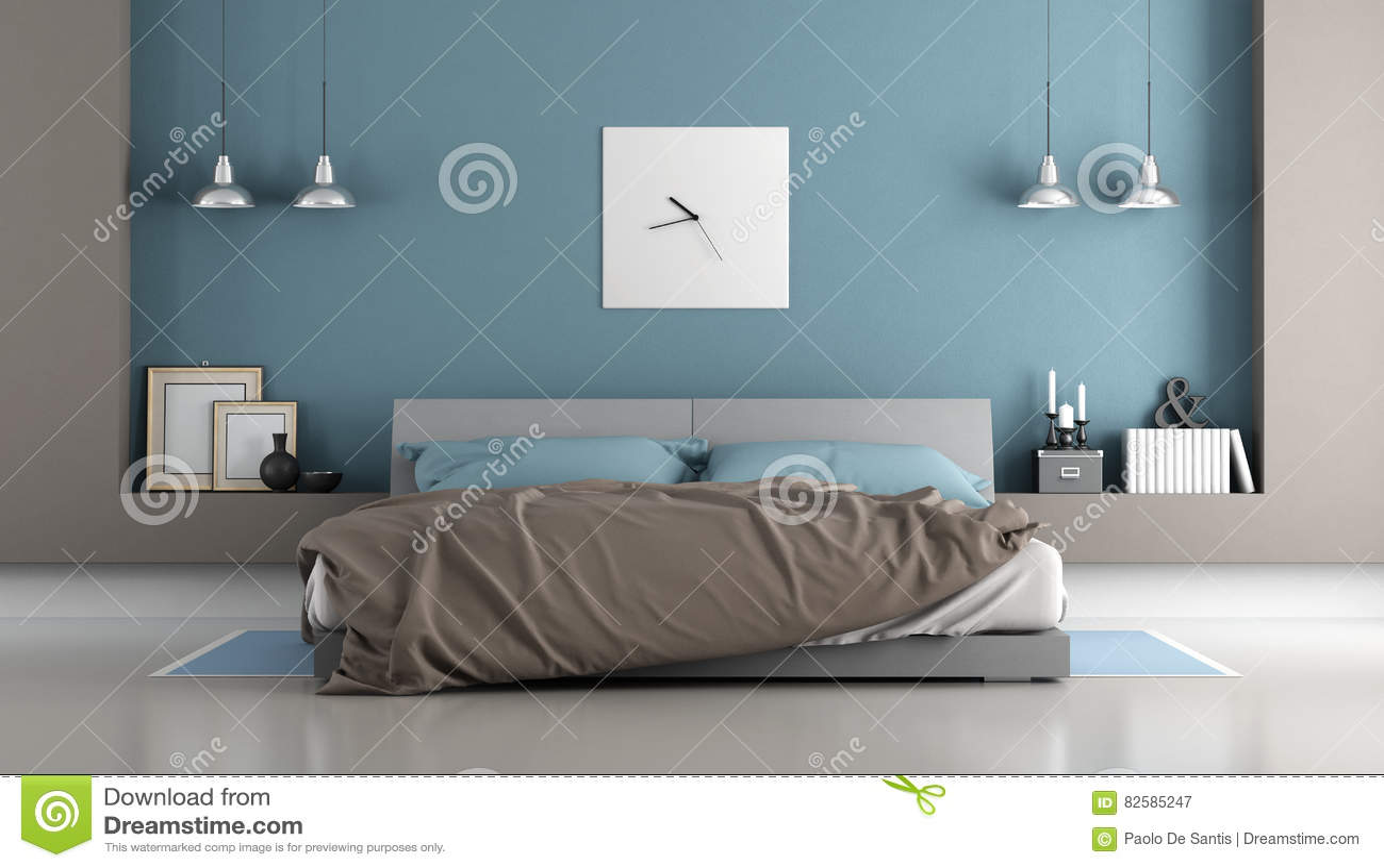 Blaues und braunes modernes schlafzimmer stock abbildung - Braunes schlafzimmer ...