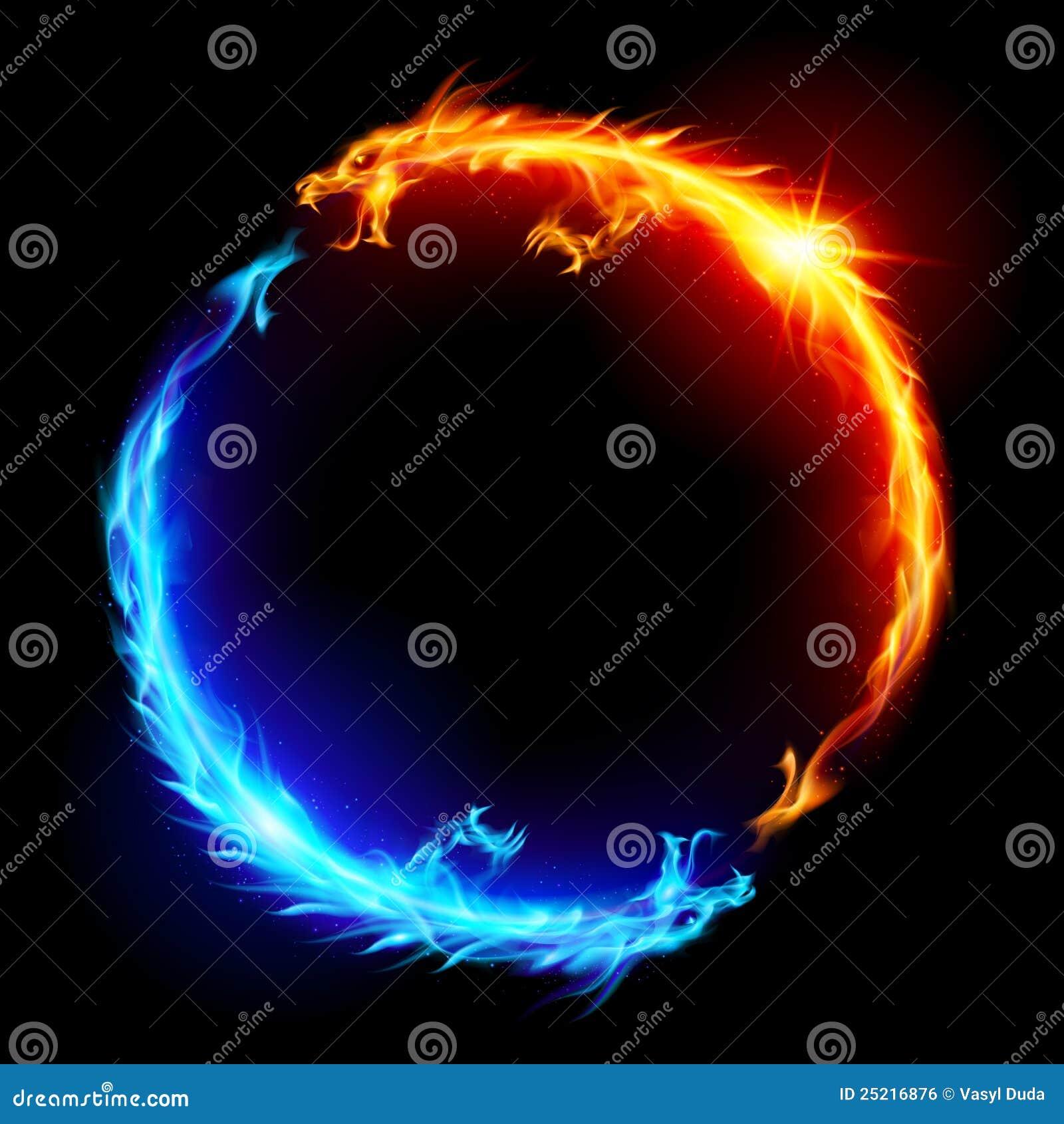 blaues und rotes feuer drachen vektor abbildung bild ying yang vector images ying yang vector art