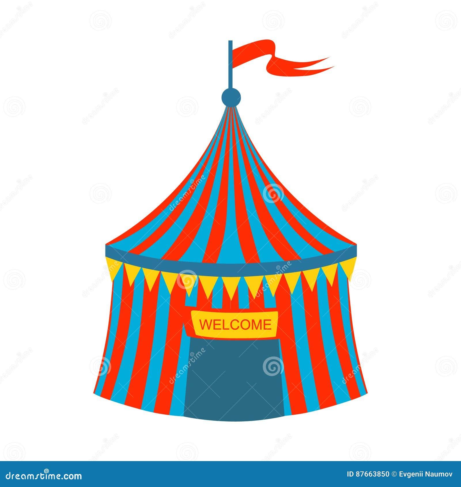 Blaues und rotes gestreiftes Zirkus-Zelt, Teil des Vergnügungsparks und angemessene Reihe flache Karikatur-Illustrationen
