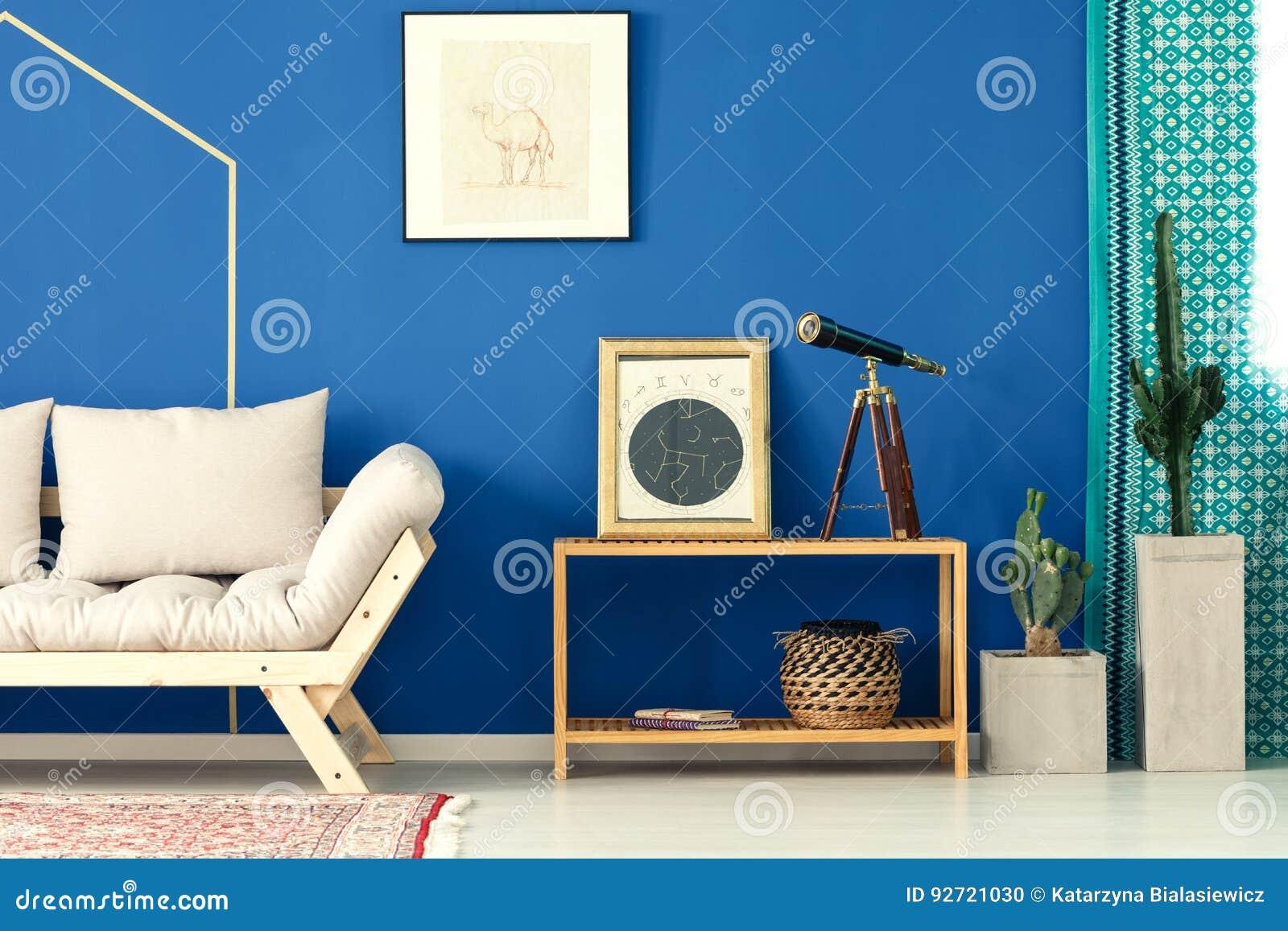 Blaues wohnzimmer mit kaktus stockfoto bild von dekoration teppich 92721030 - Blaues wohnzimmer ...