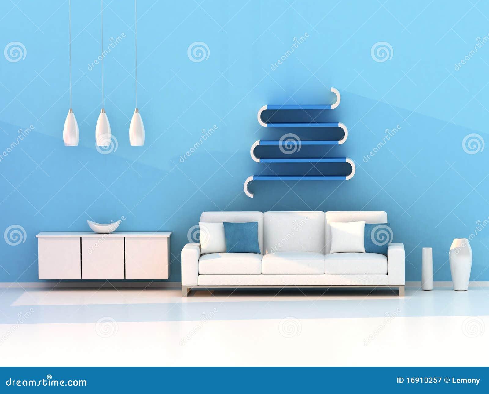 Blaues wohnzimmer moderner raum stock abbildung bild for Moderner raum