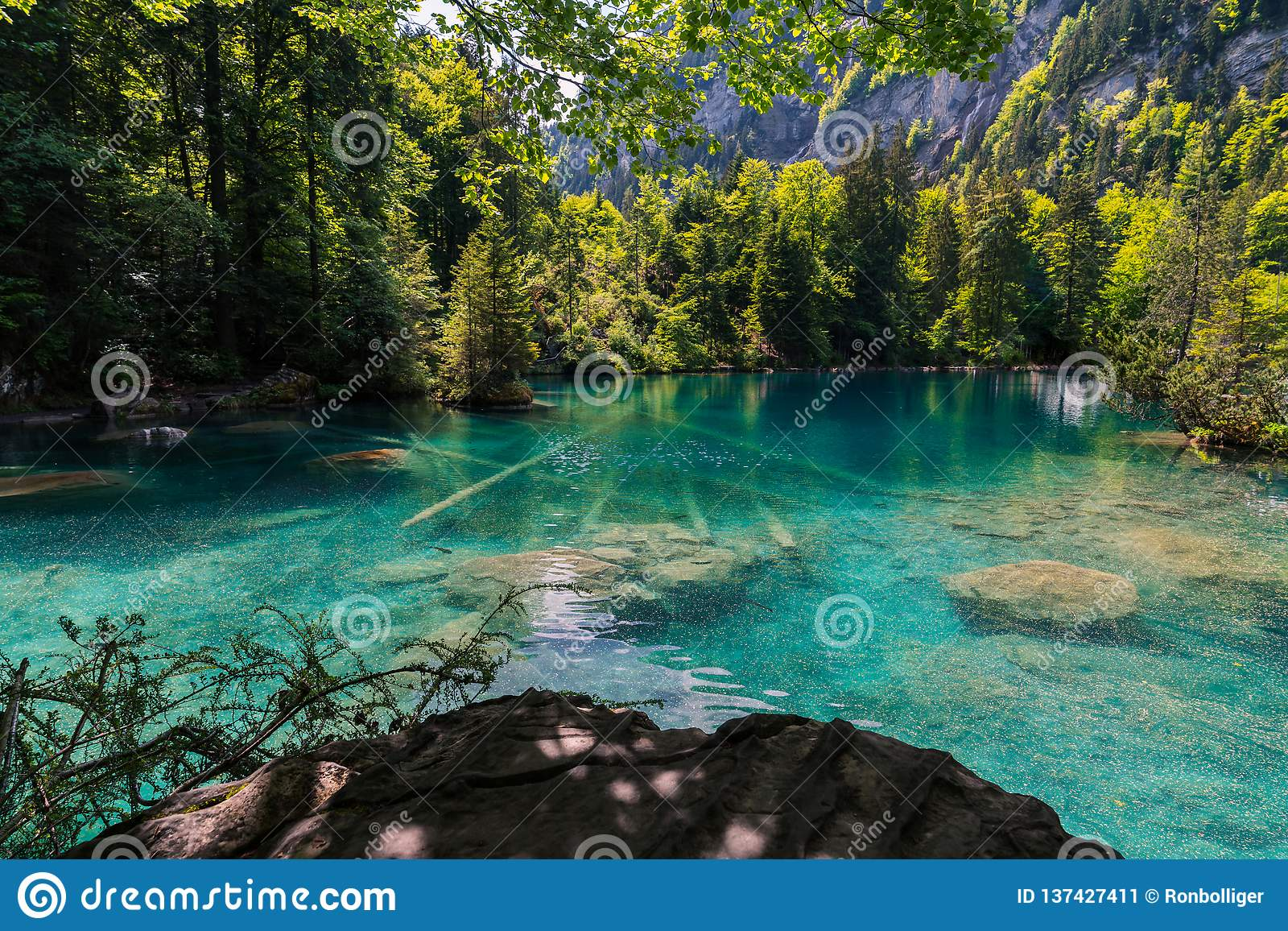 Blausee Blue Lake nature park in early fall Kandersteg Switzerland